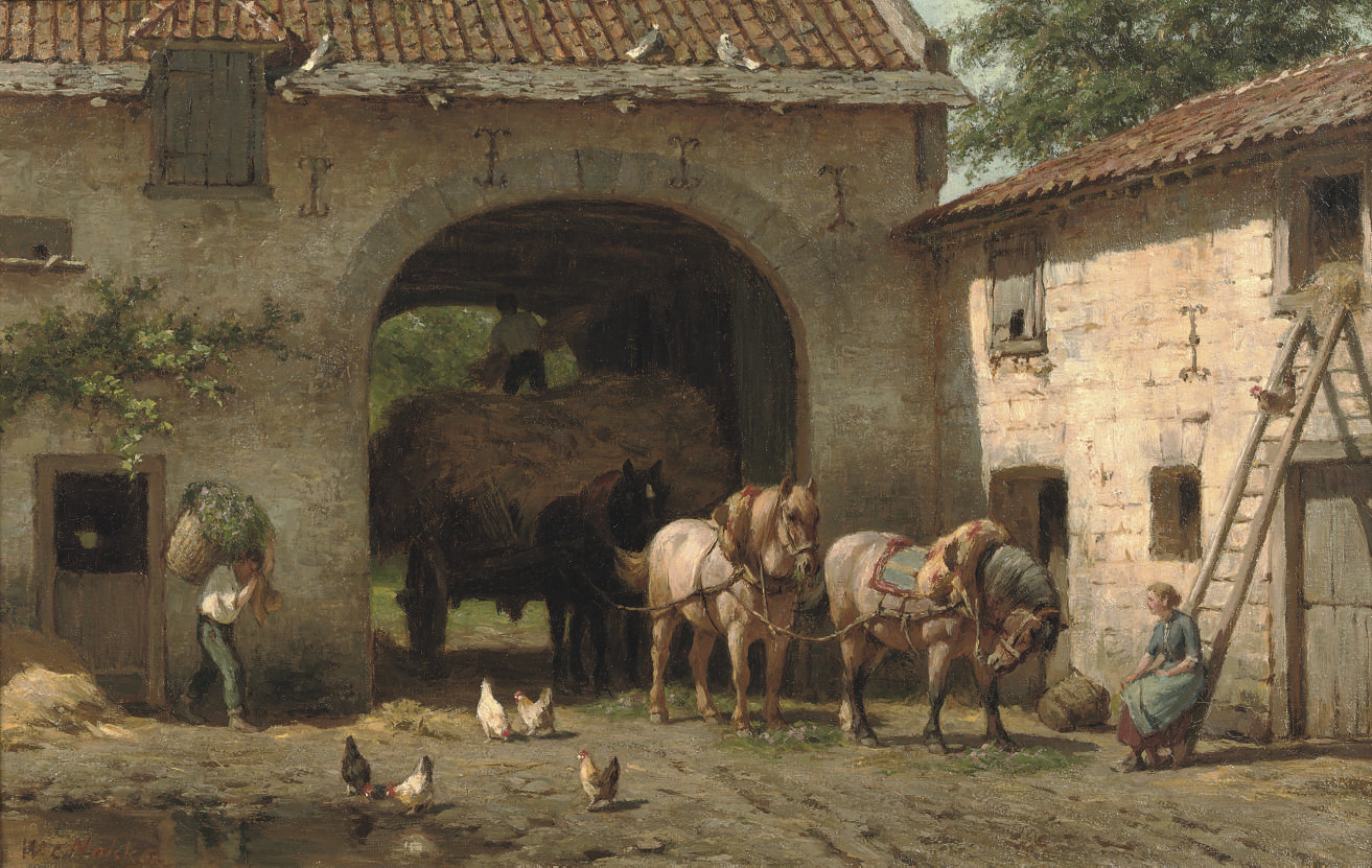 A hay-cart entering a courtyard in summer
