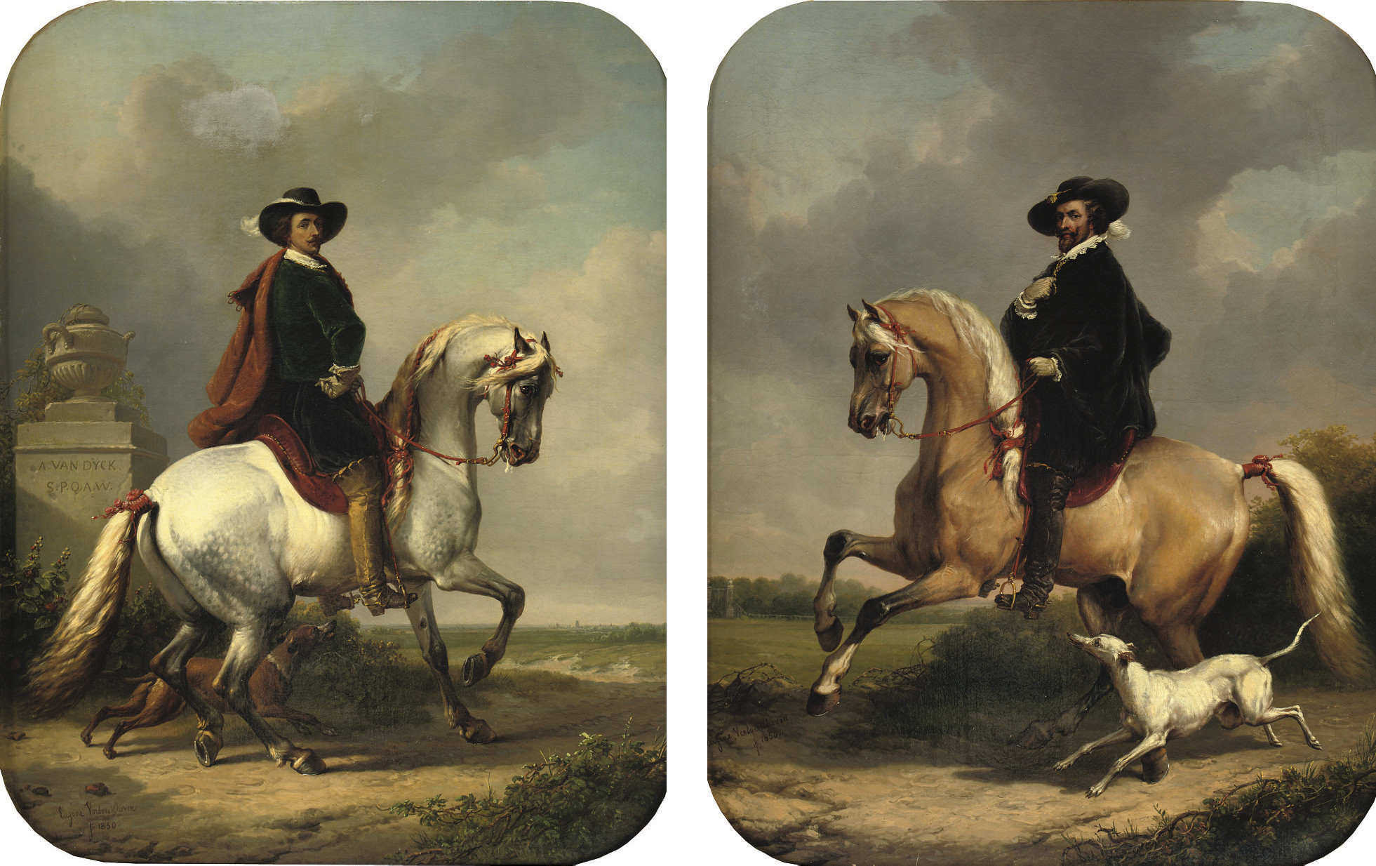 Sir Anthony van Dyck; and Peter Paul Rubens: a pair of equestrian portraits