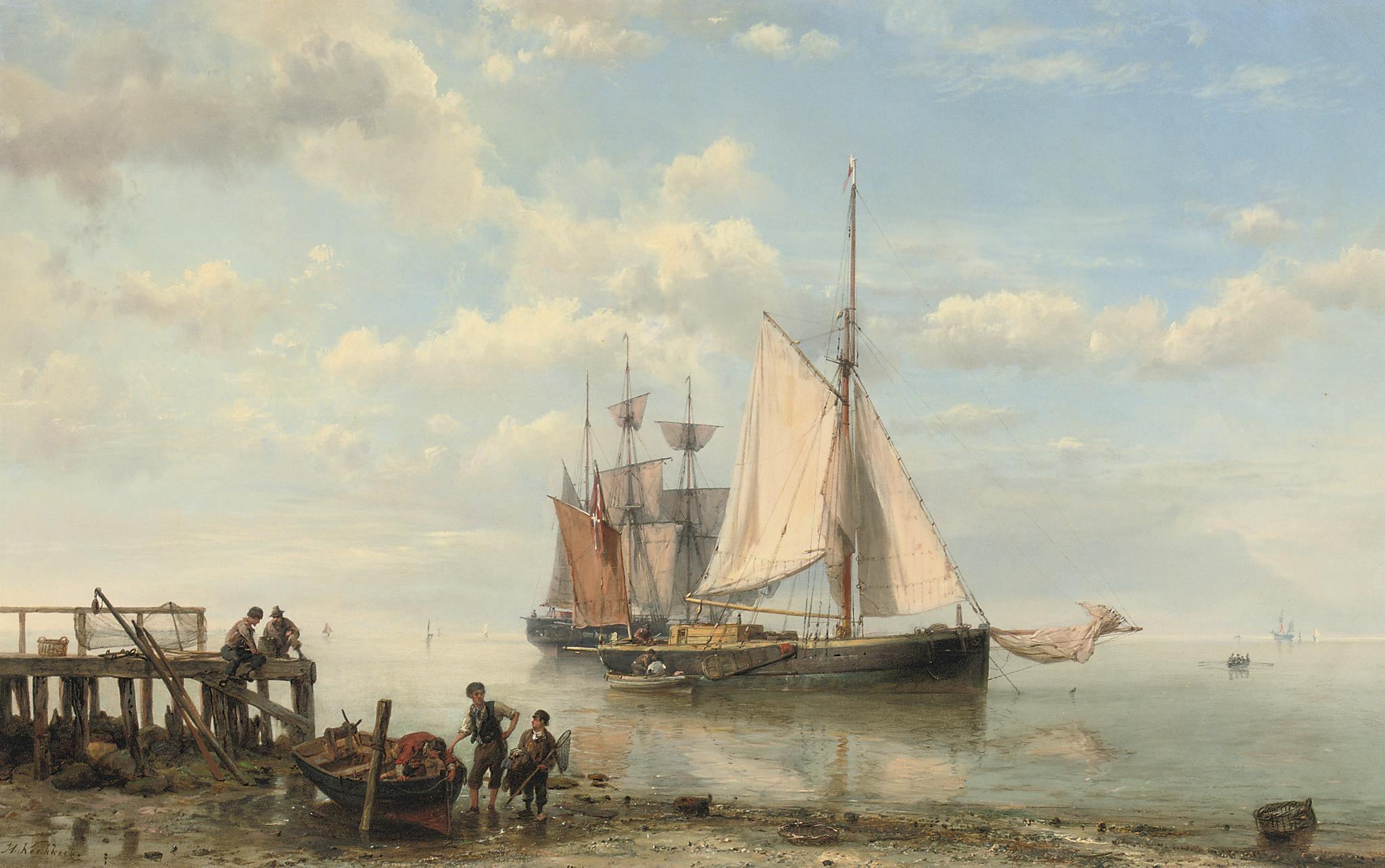 Sailing-vessels by a coast on a calm sea