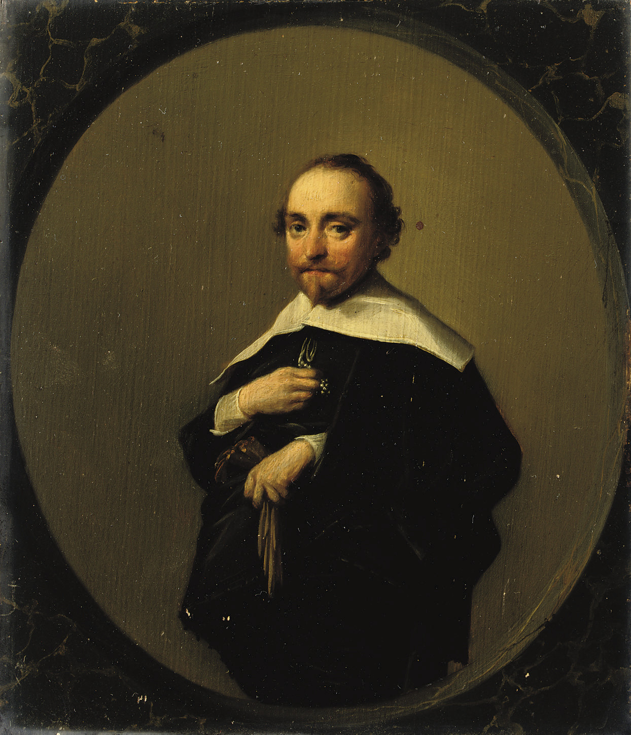 Portrait of a gentleman, three-quarter-length, in a black costume with a white collar, holding his gloves, in a painted oval