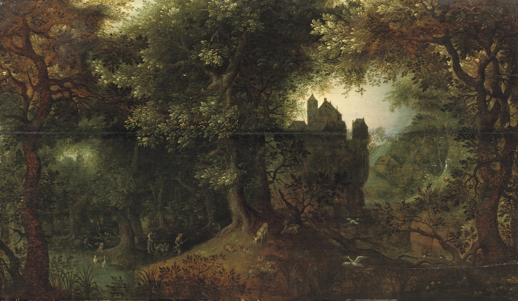 A wooded landscape with a hunting party, a town beyond