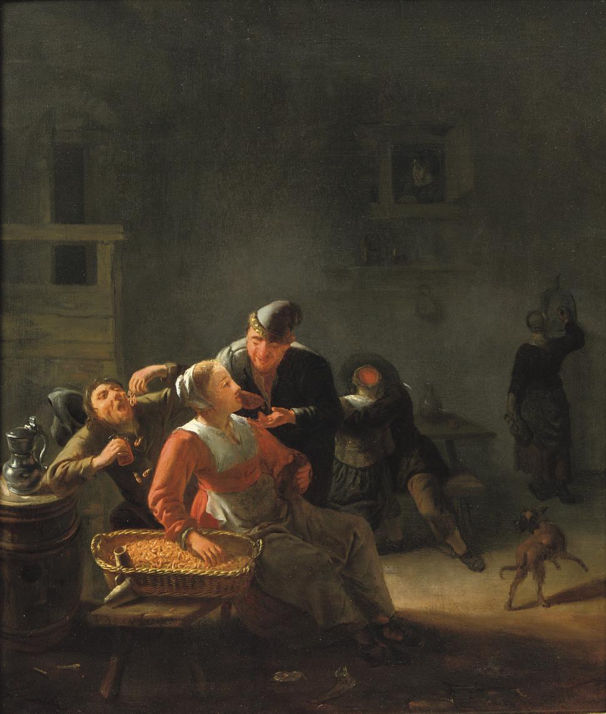 Peasants eating shrimps in an inn