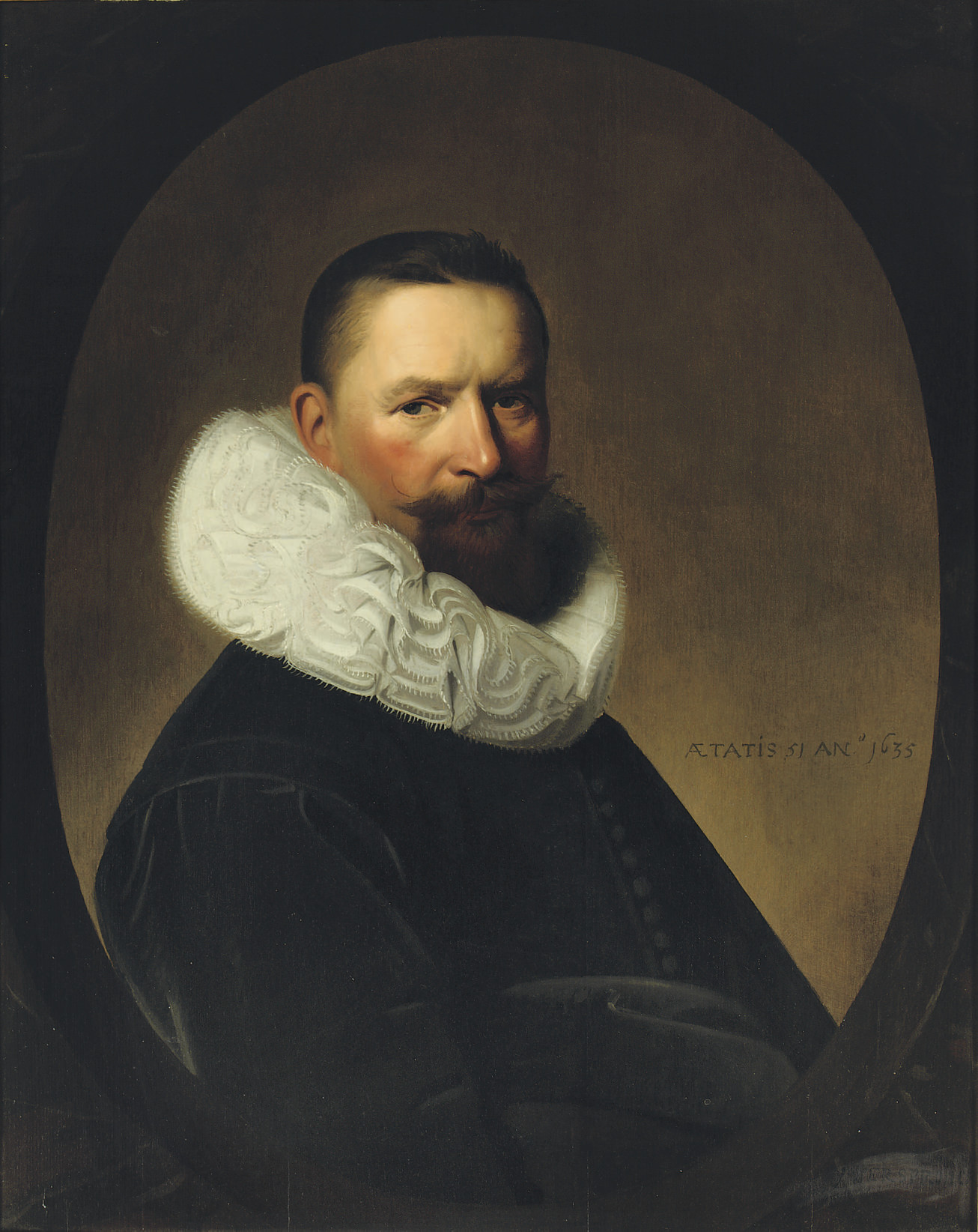 Portrait of Josias van Herrewijn (1584-1652), half-length, in a black costume with a 'molensteenkraag', in a feigned oval stone window