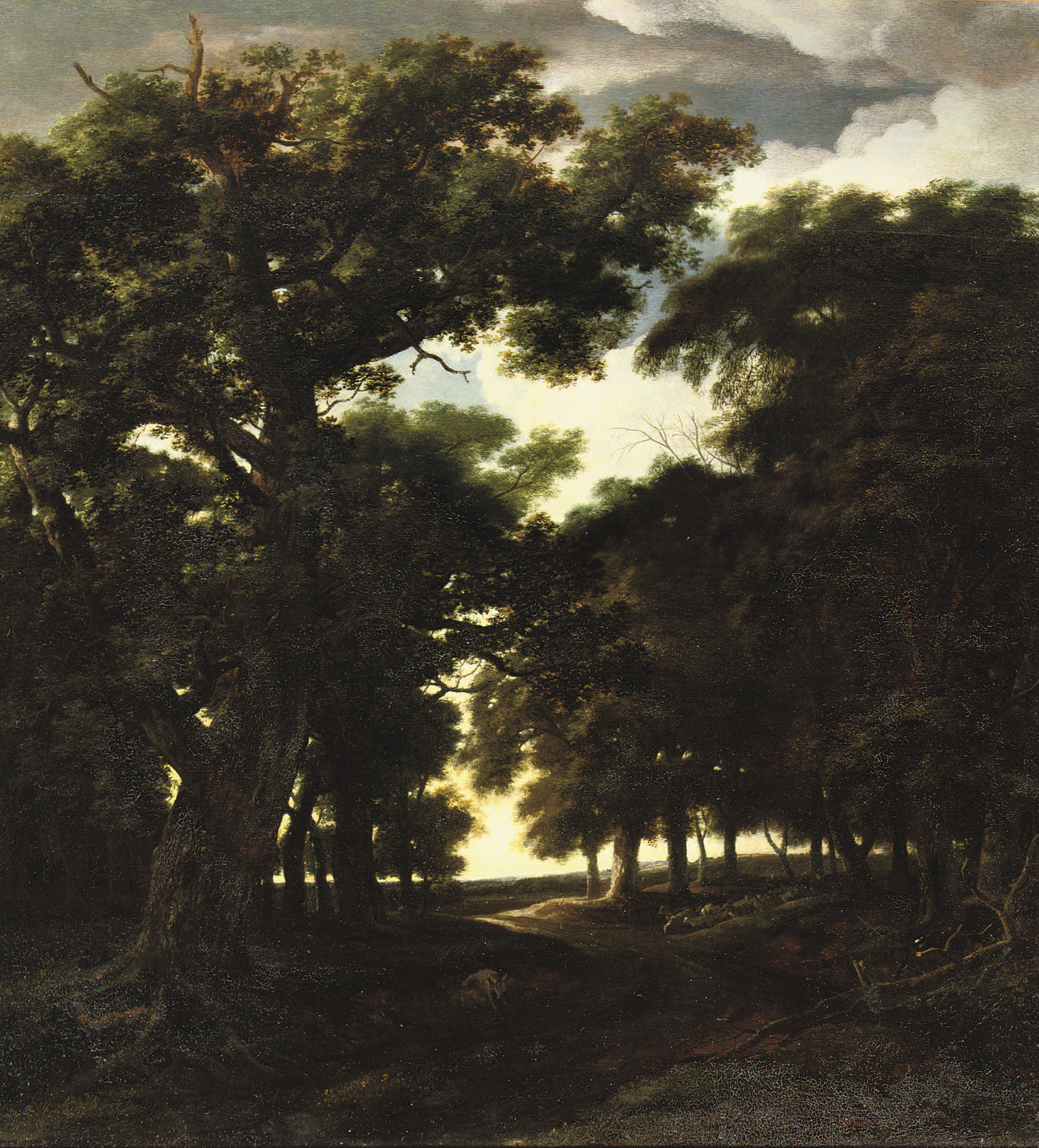 A wooded landscape with a herd of pigs on a track