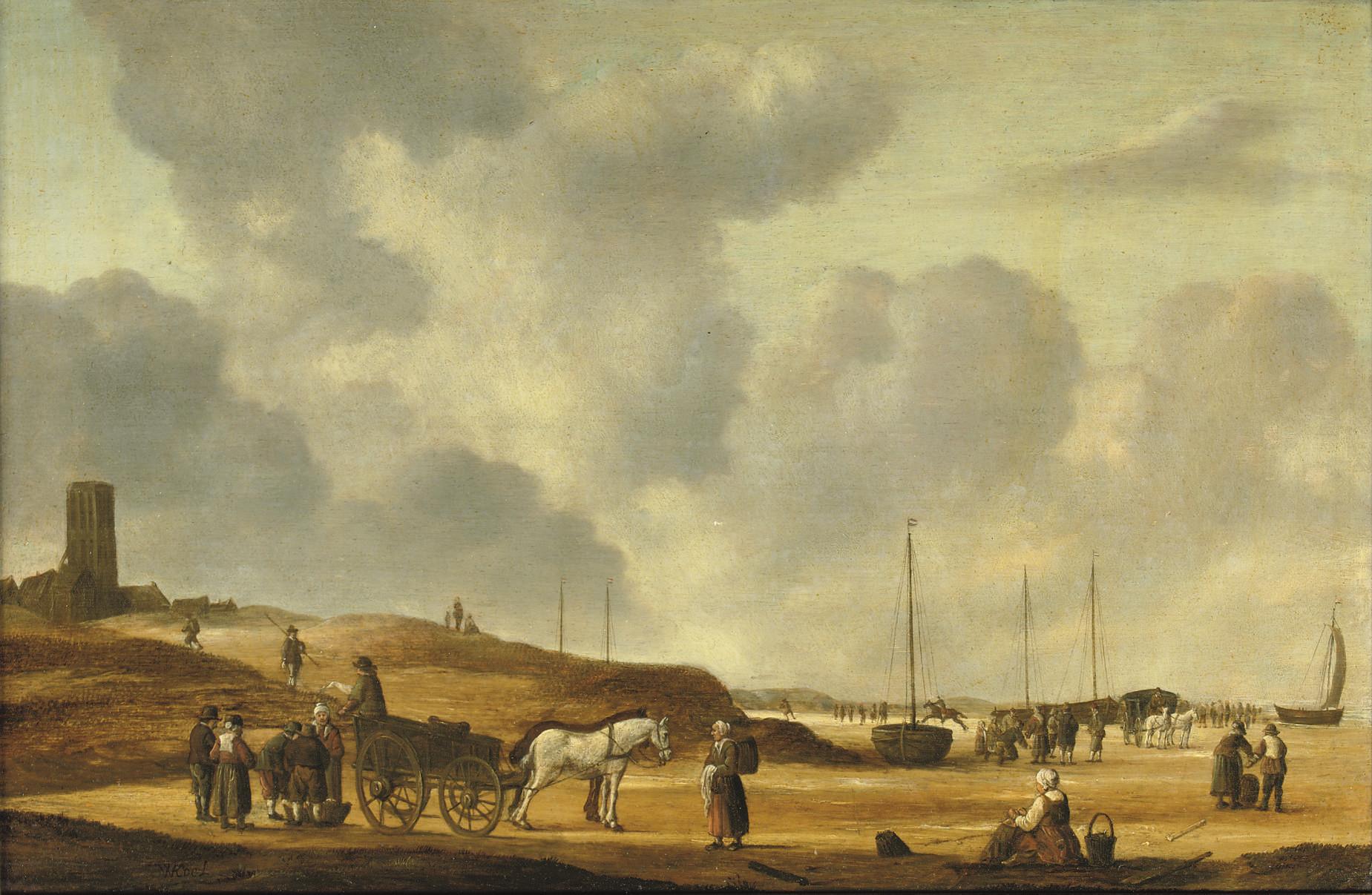 Fisherfolk on the beach of Egmond aan Zee