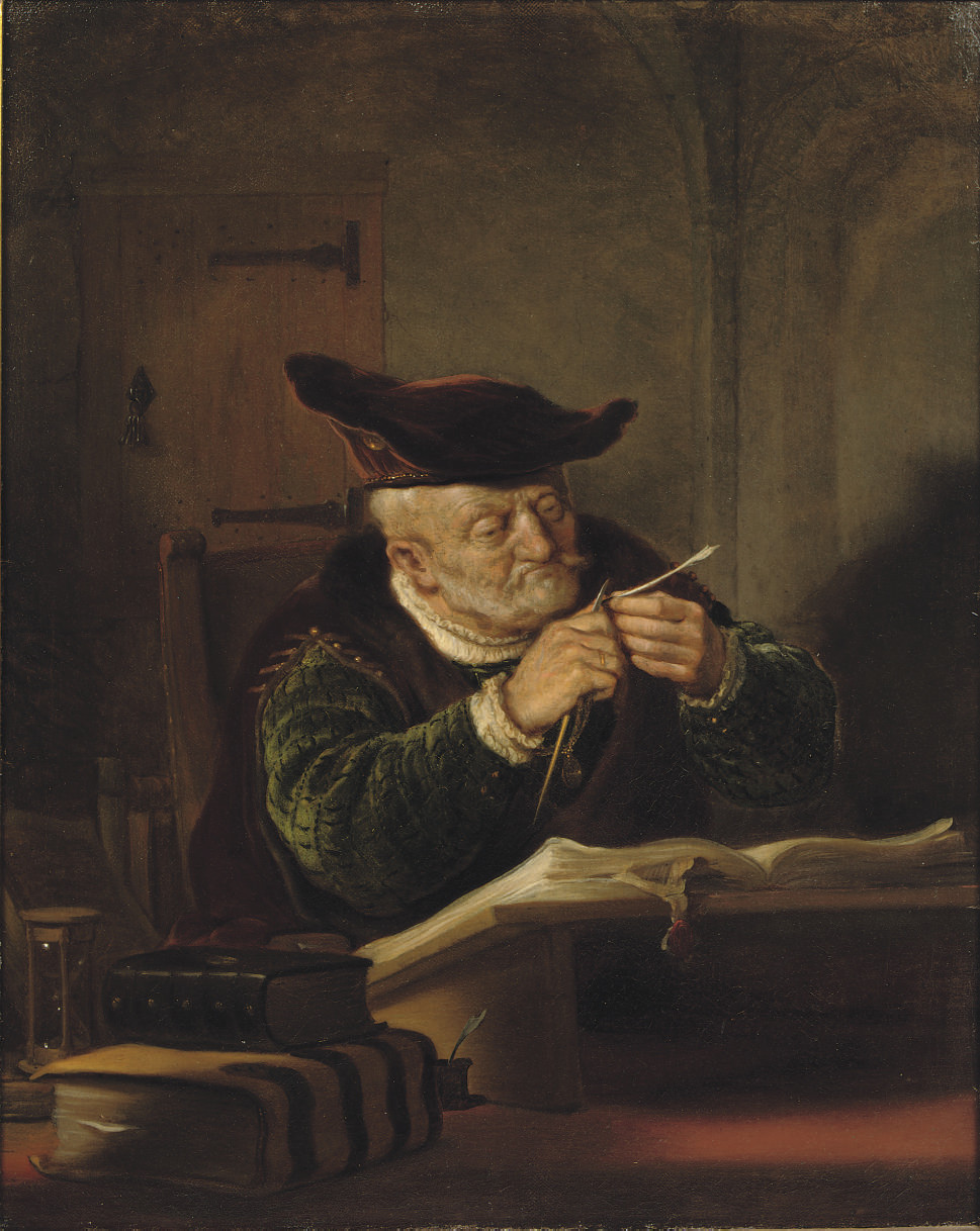 A scholar sharpening his quill