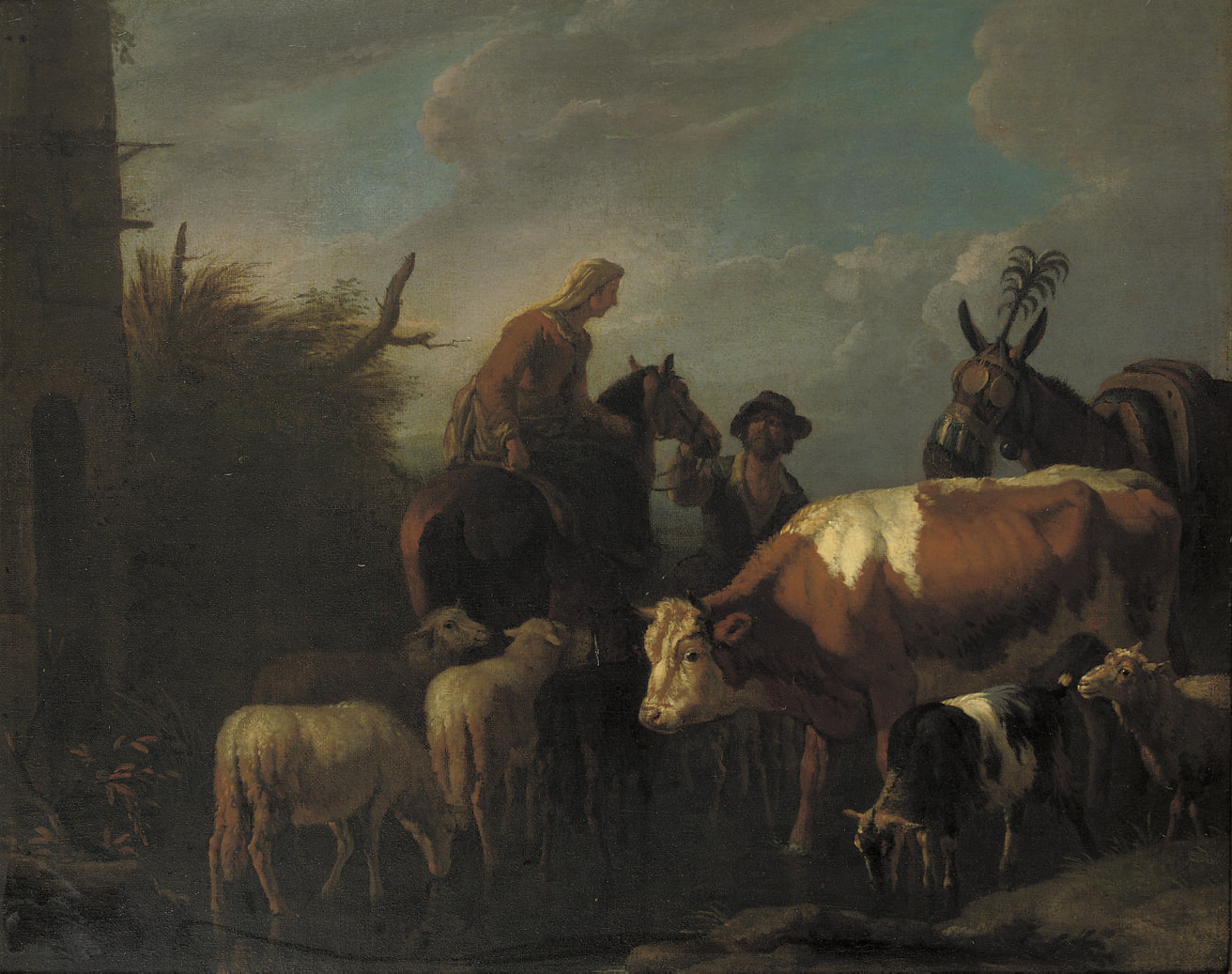 A peasant couple amongst their cattle and sheep