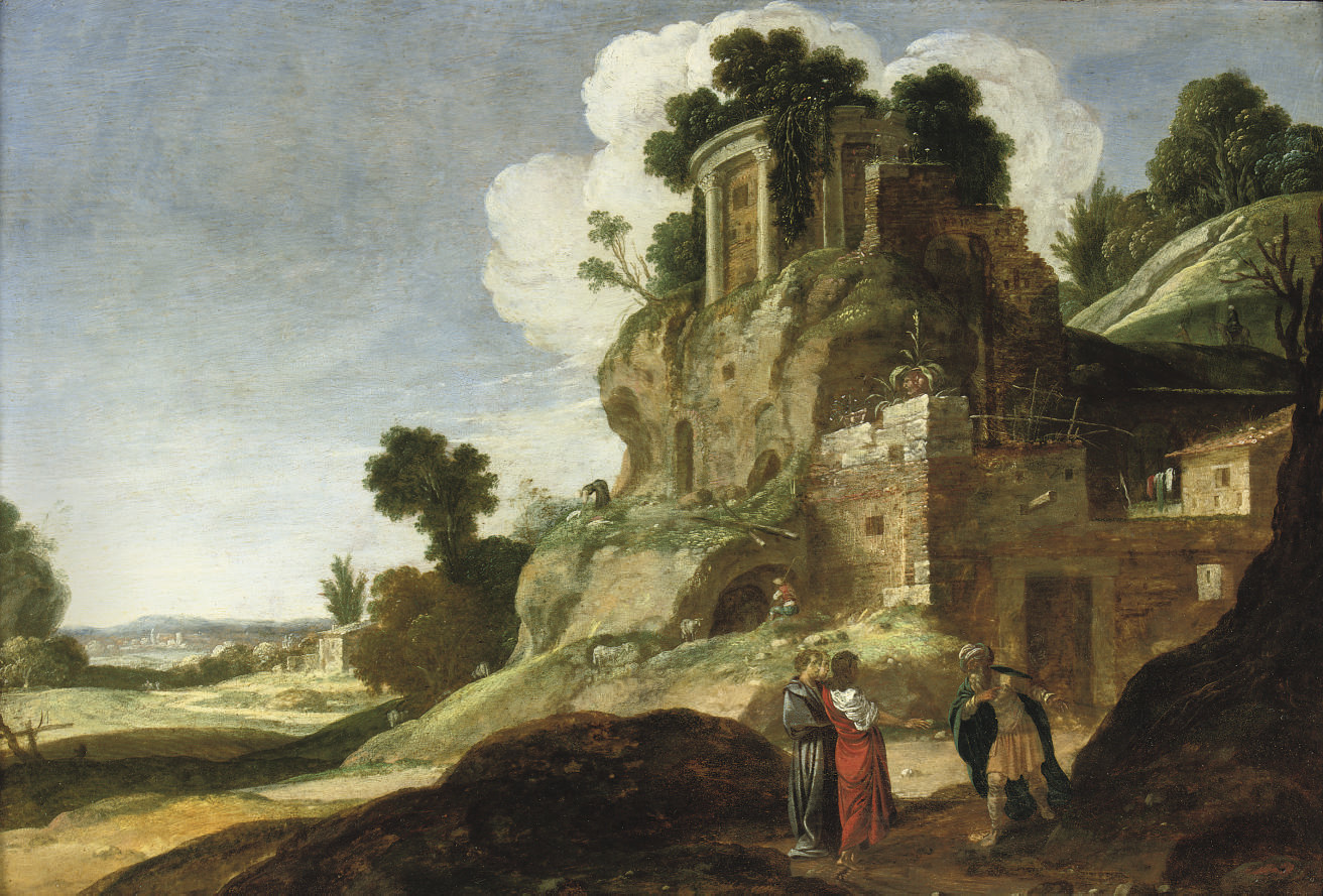 A rocky landscape with the Three Angels appearing to Abraham