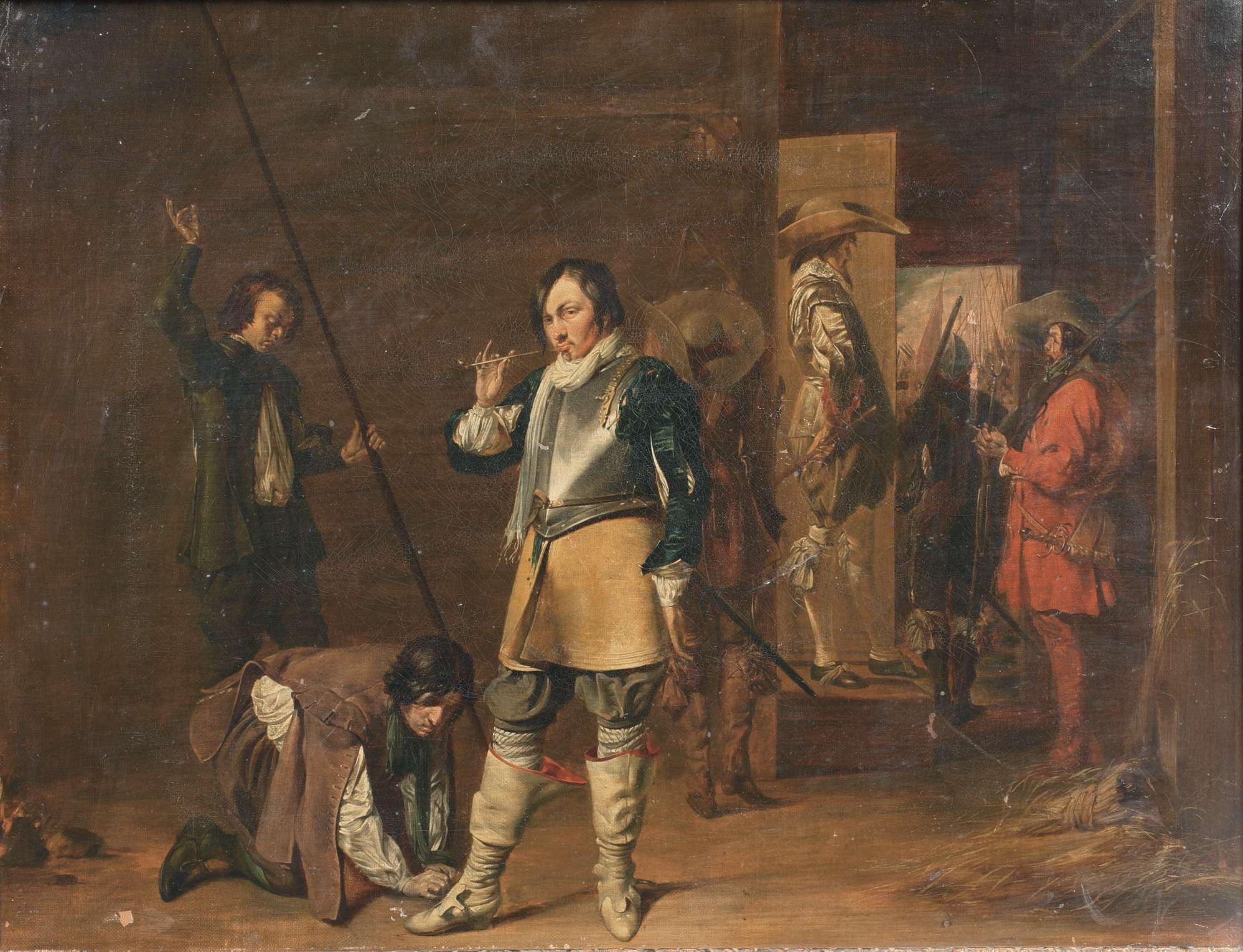 A guardroom interior with the call to arms