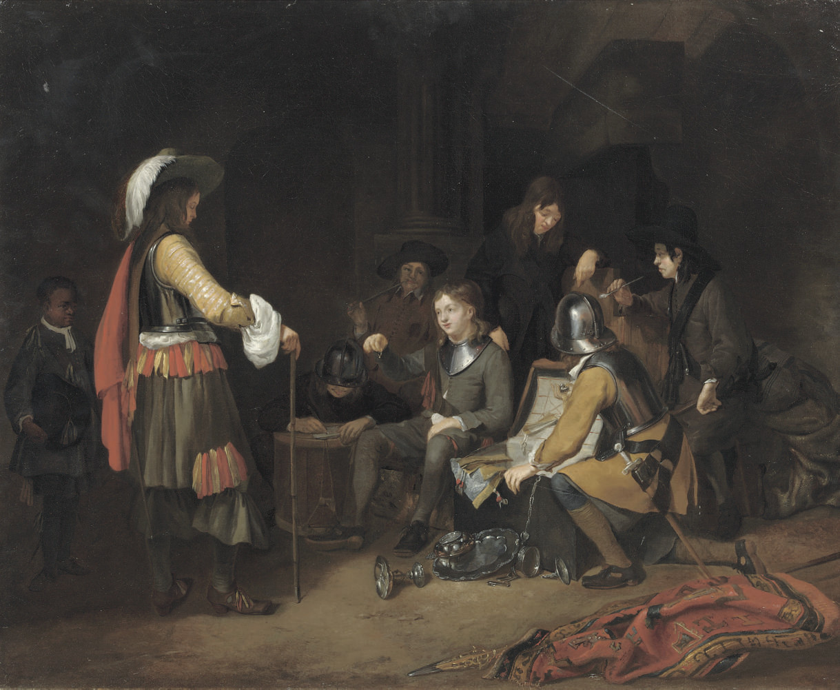 Soldiers dividing booty in a guardroom interior