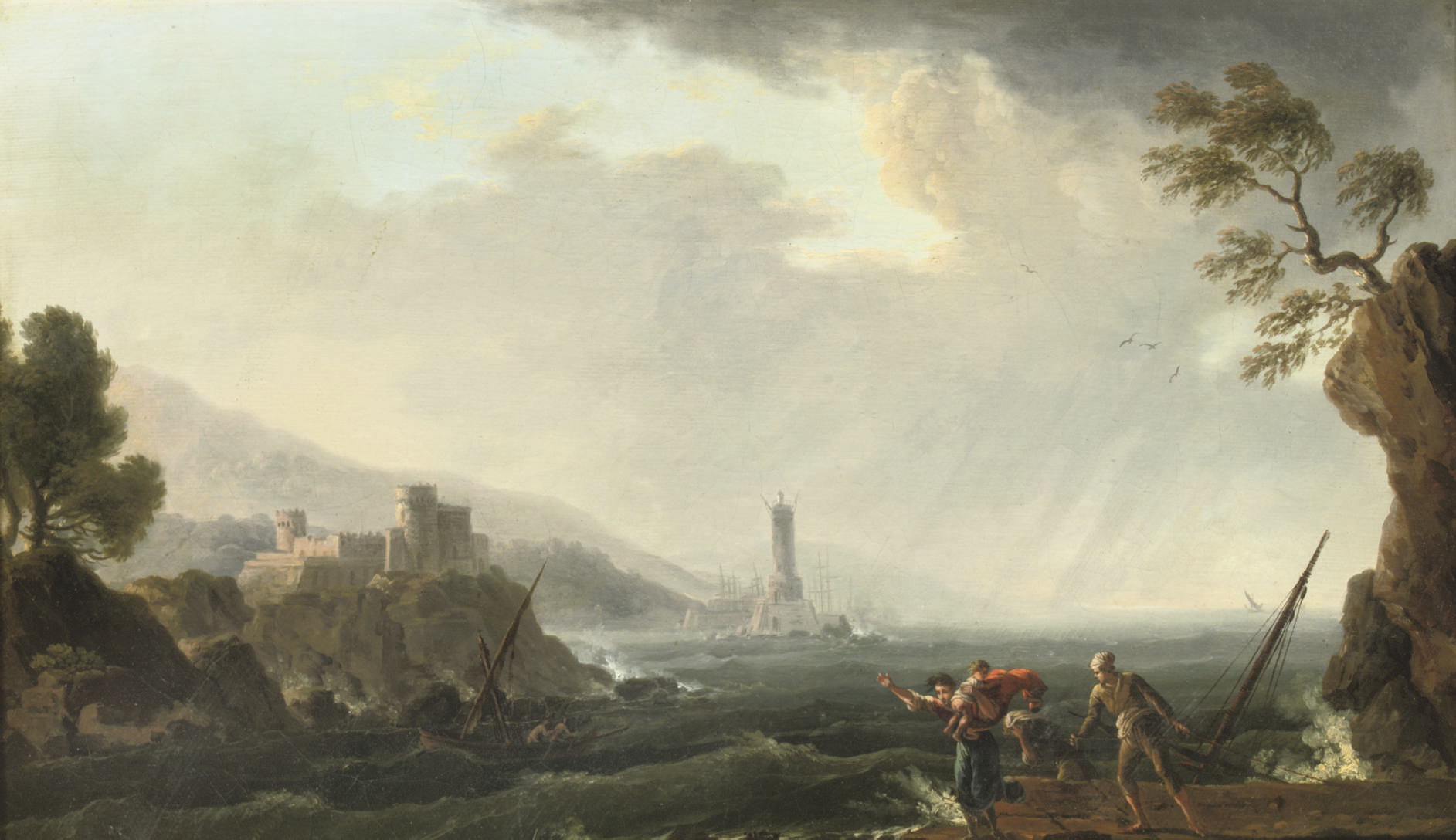 A rocky coastal landscape with figures fleeing from stormy waters