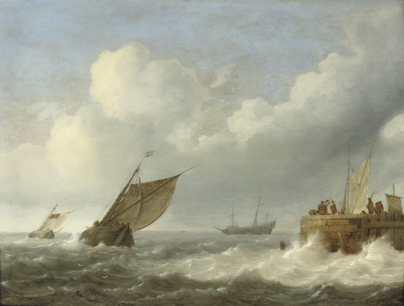 Sailing vessels in choppy waters with figures on a quay nearby