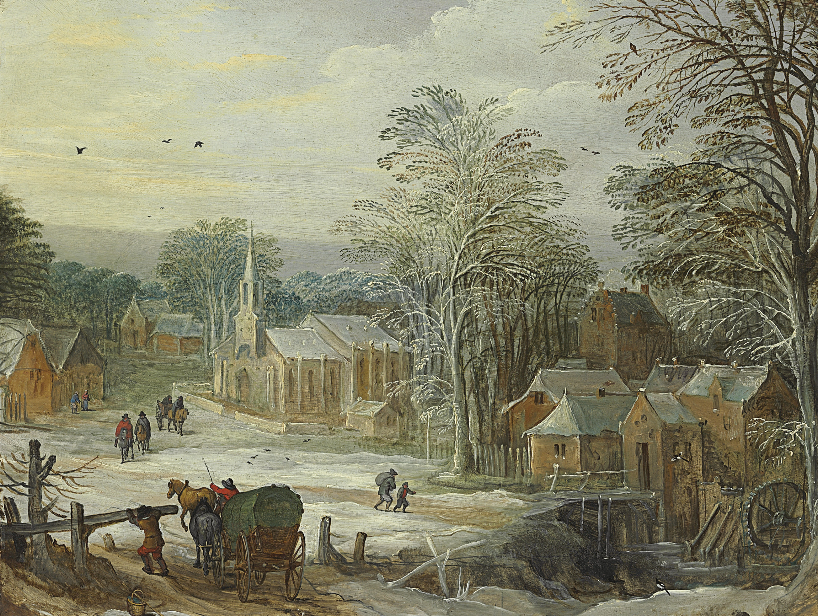 A winter landscape with travellers arriving at a town