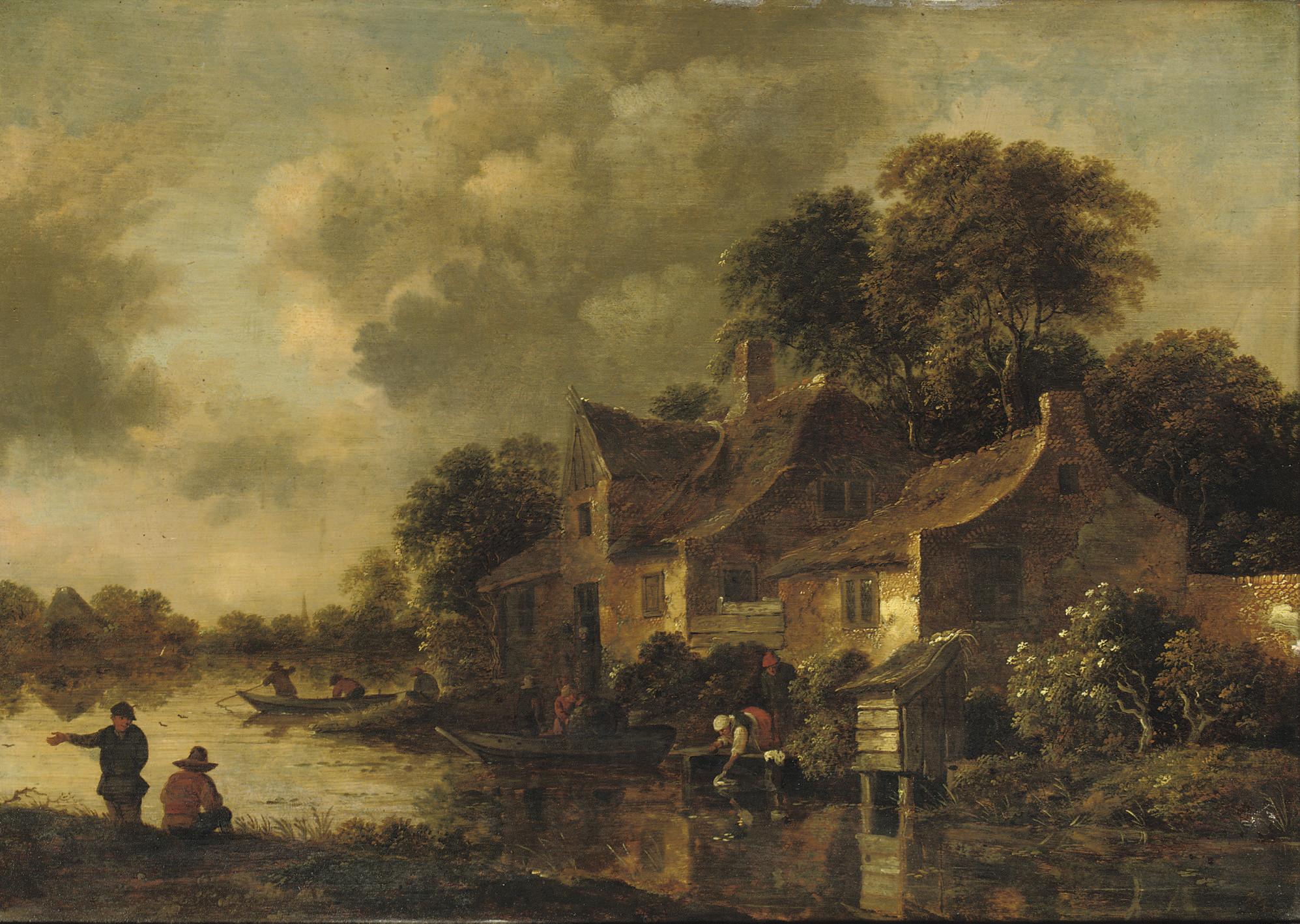 A wooded river landscape with a washerwoman and fishermen near a farmsted