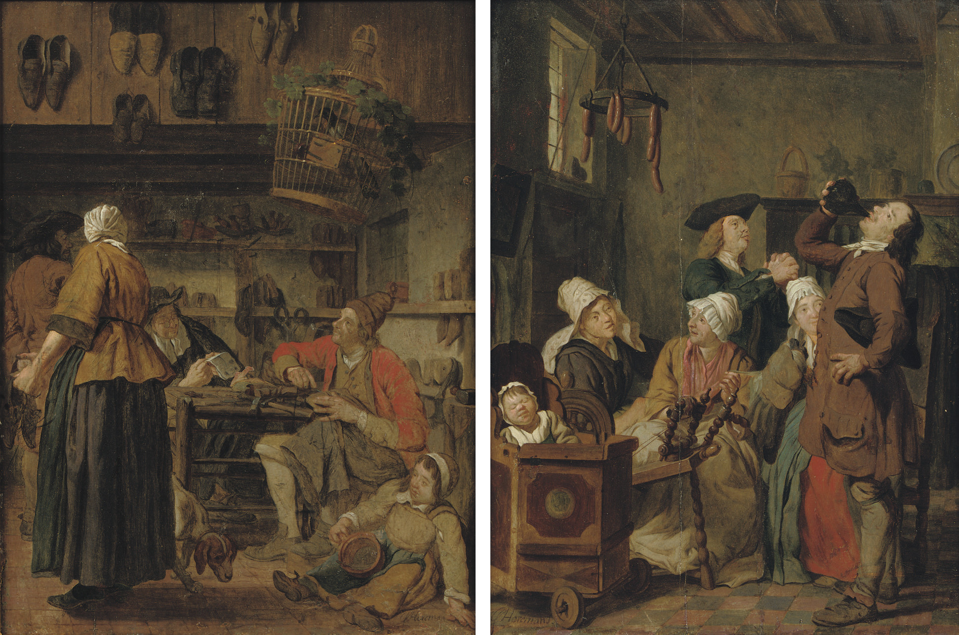 A cobbler's workshop; and A family in an interior