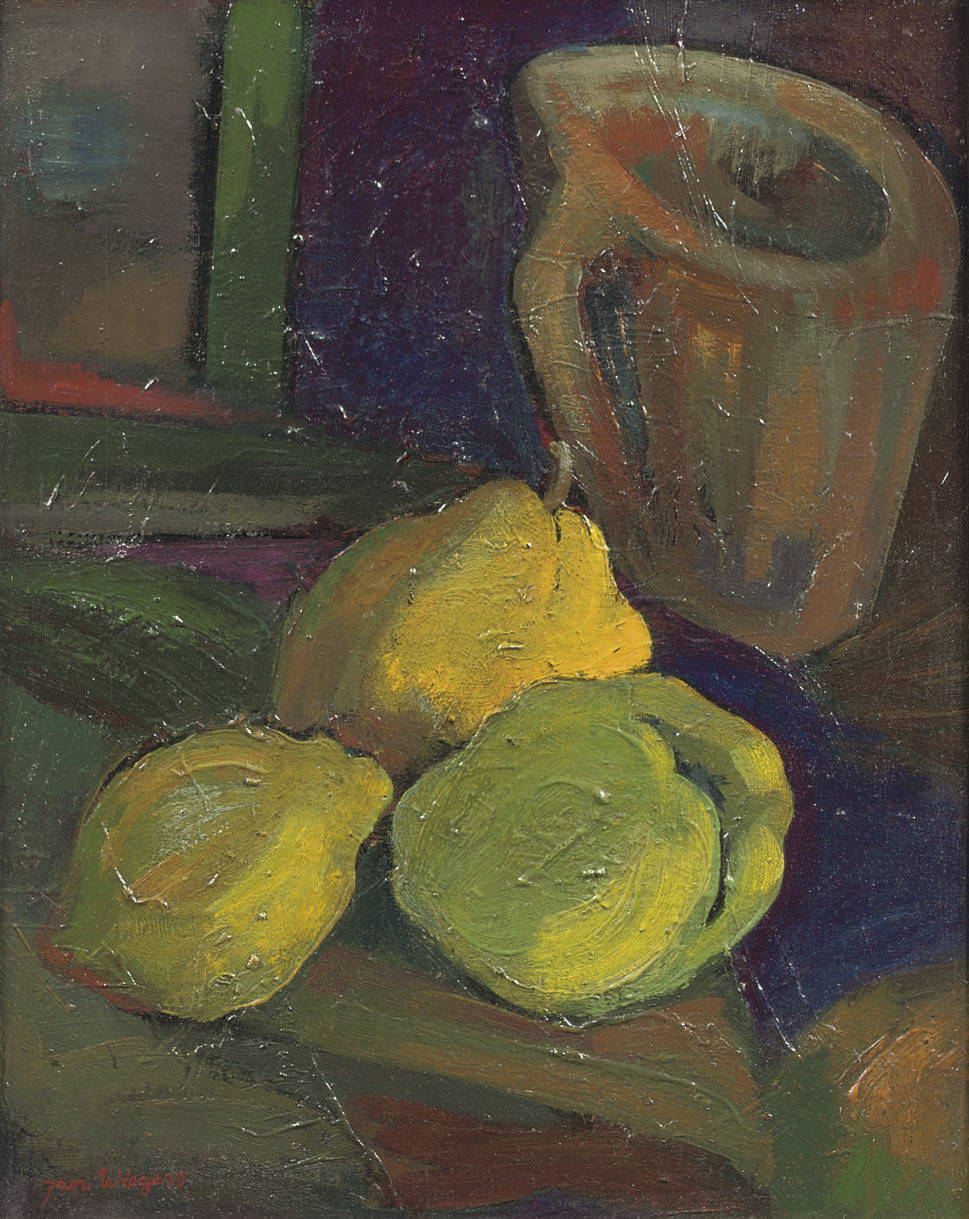 A still life with quinces and a jug
