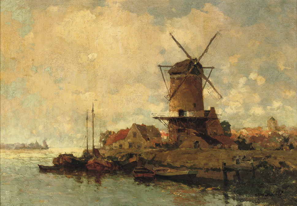 Langs de Merwede: a windmill on the bank of the river Merwede