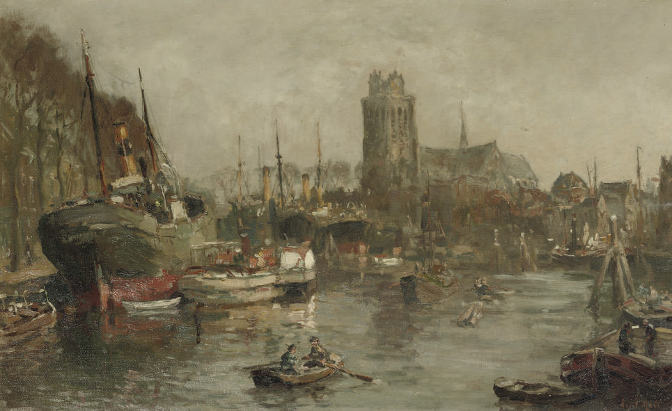A busy day in the harbour, Dordrecht