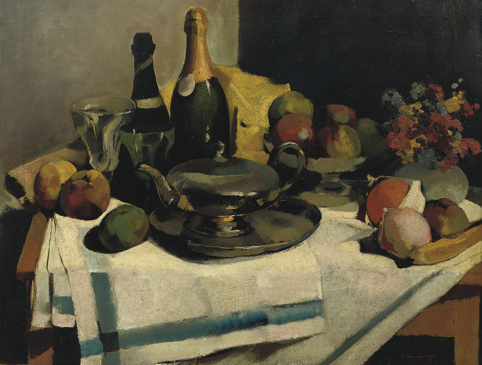 A still life with champagne bottle and fruits