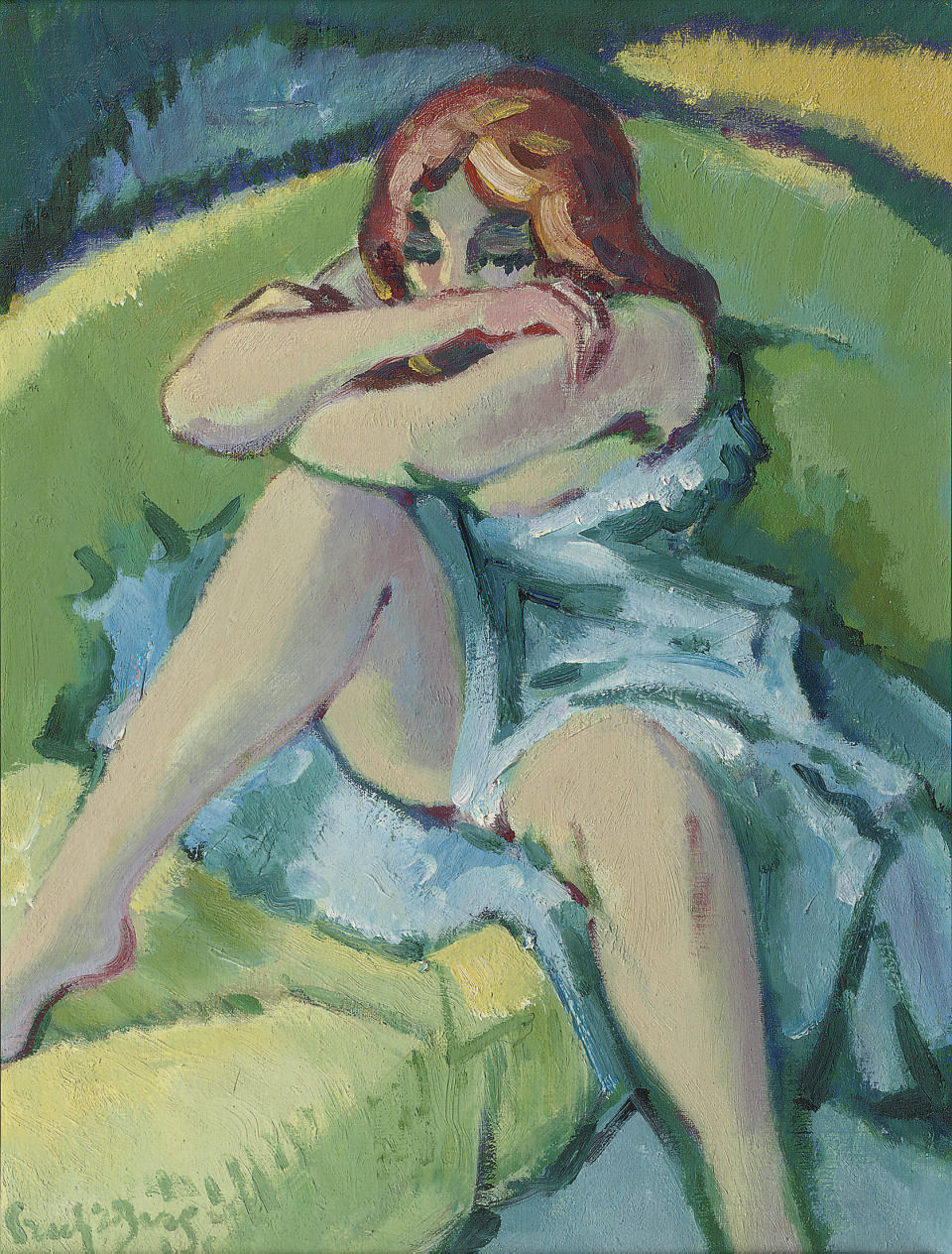 Seated redhaired girl