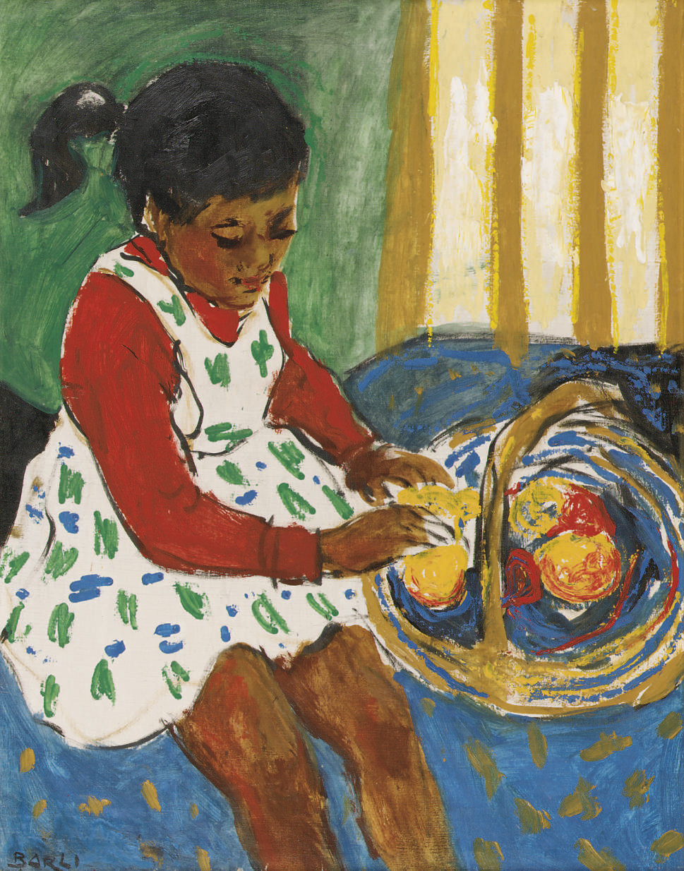A seated girl with a fruit basket