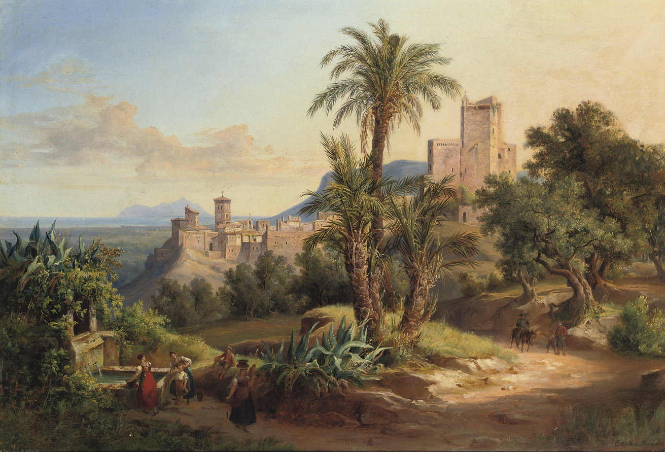 By a fountain in the Roman campagna