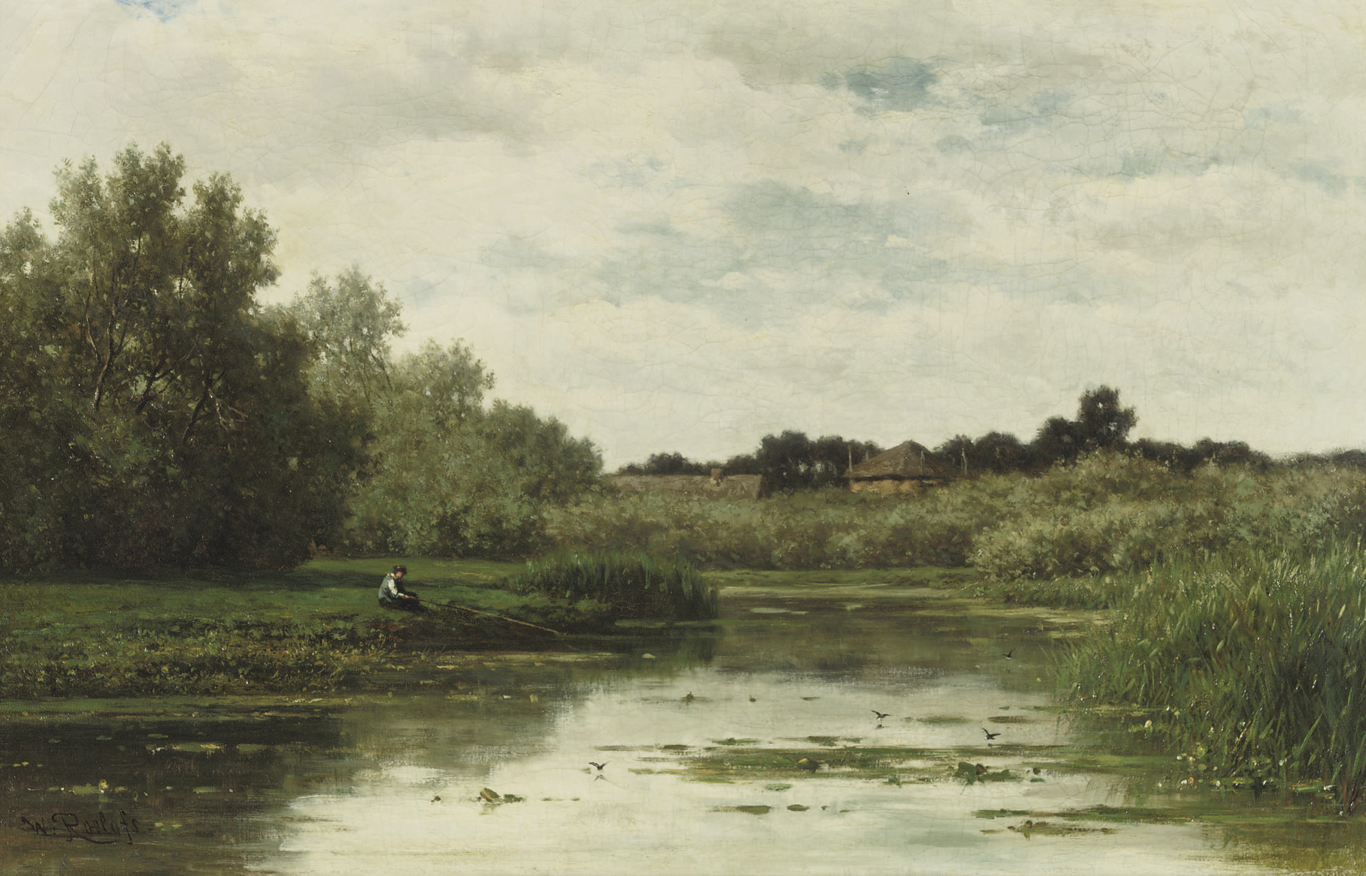 Paysage et mare, environs d'Abcoude: fishing near Abcoude