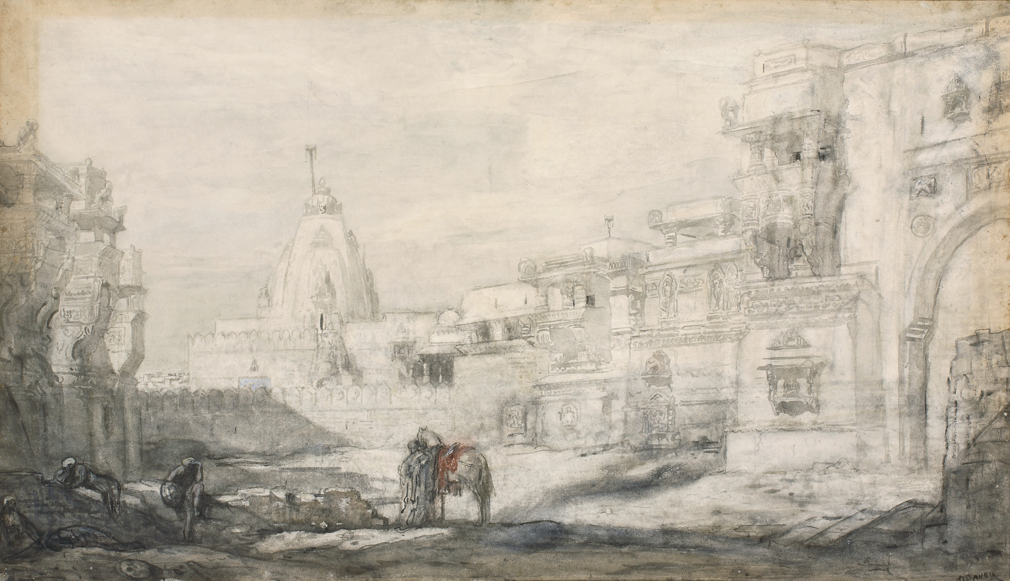 Hindoetempel: arriving at the Palitana temples, Gujarat, India