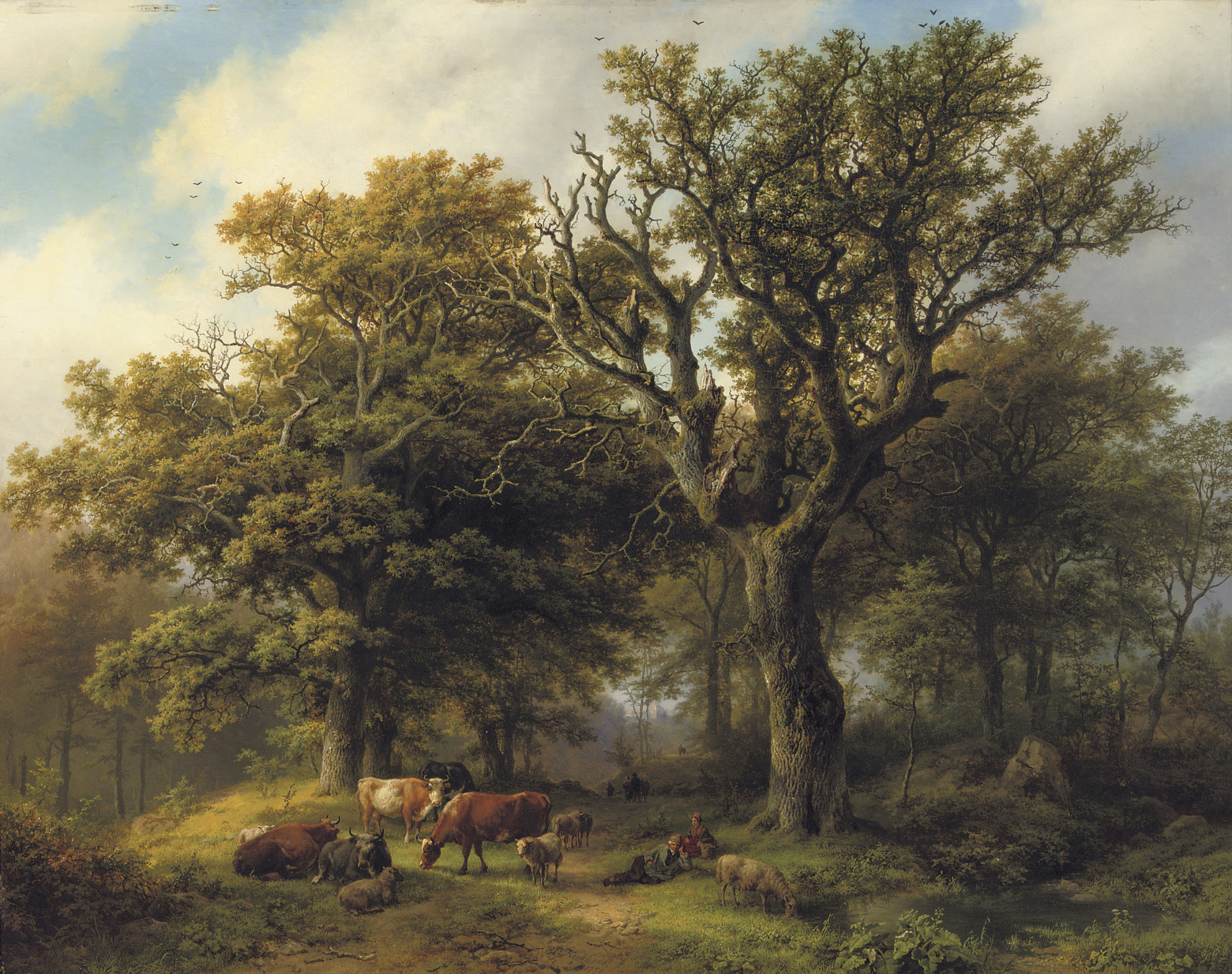Een Boomrijk landschap met koeiyen, en schapen bij Middagstond: a herdsman and his cattle resting under an oak tree, a ruin in the distance
