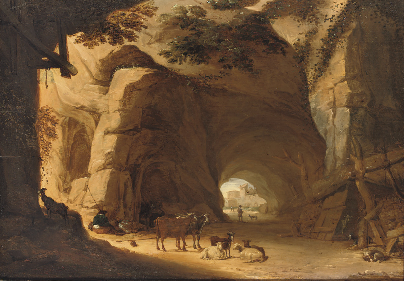 Herdsmen and their cattle resting in a grotto
