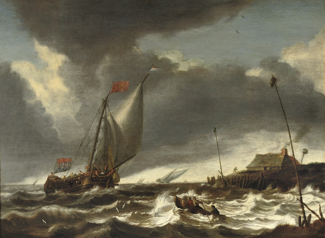 Shipping in stormy waters near a coast