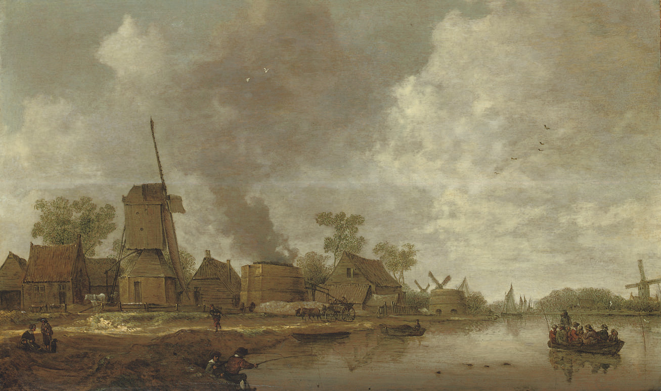A river landscape with figures near a windmill and lime kilns