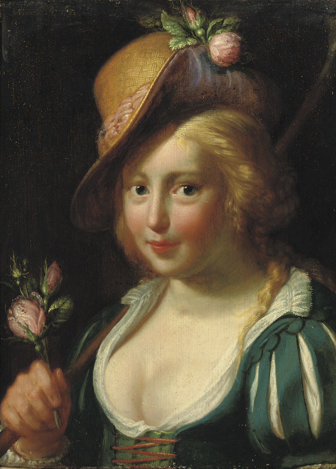 A young shepherdess holding a bunch of pink roses