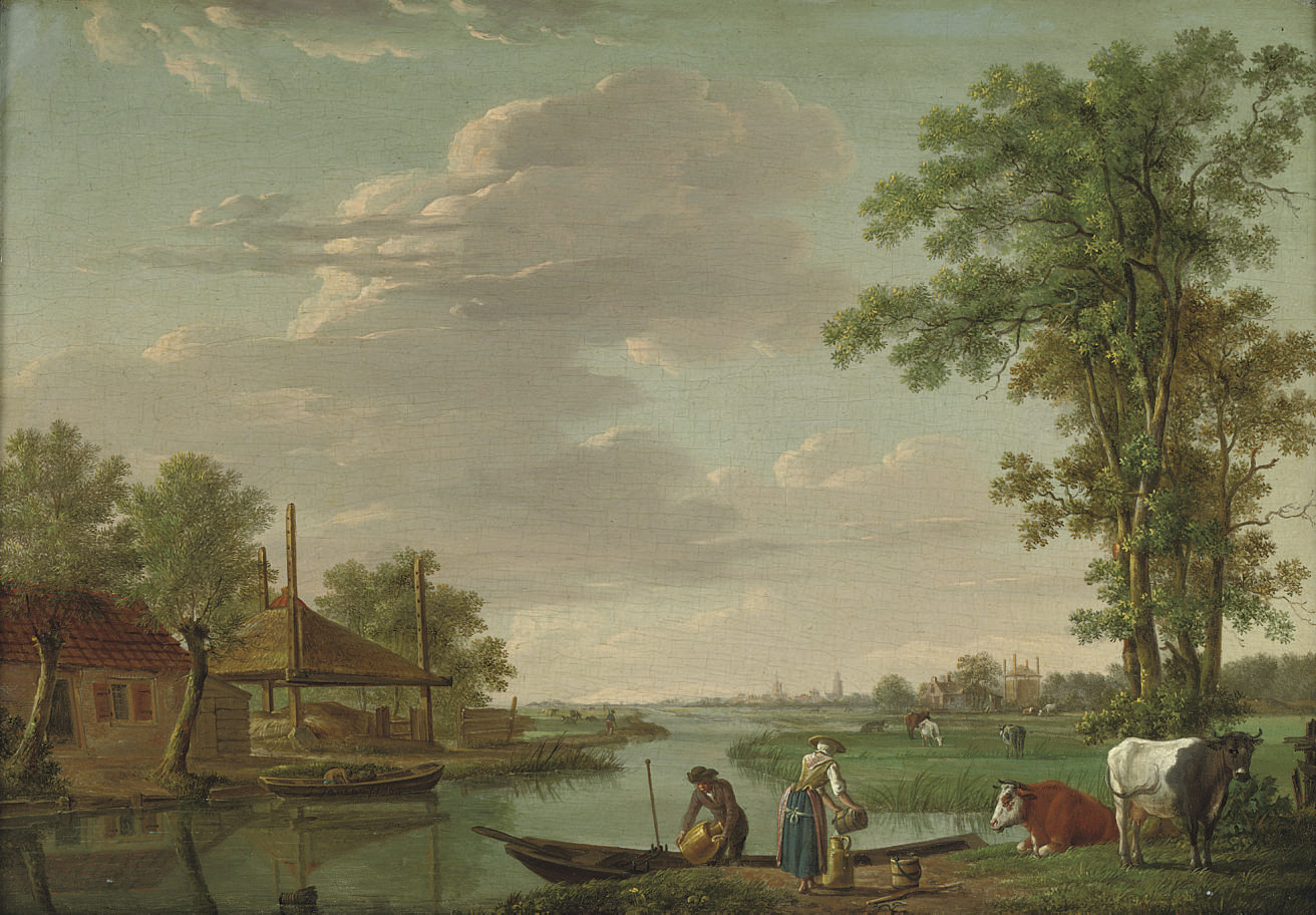 A river landscape with figures by an embankment