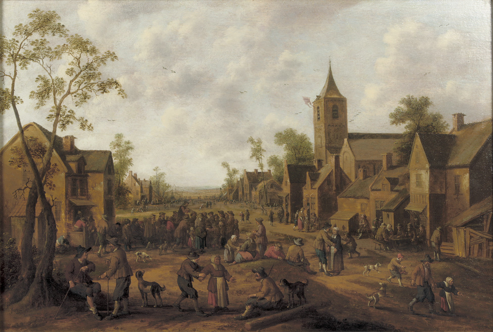 A town with numerous figures gathered in a street
