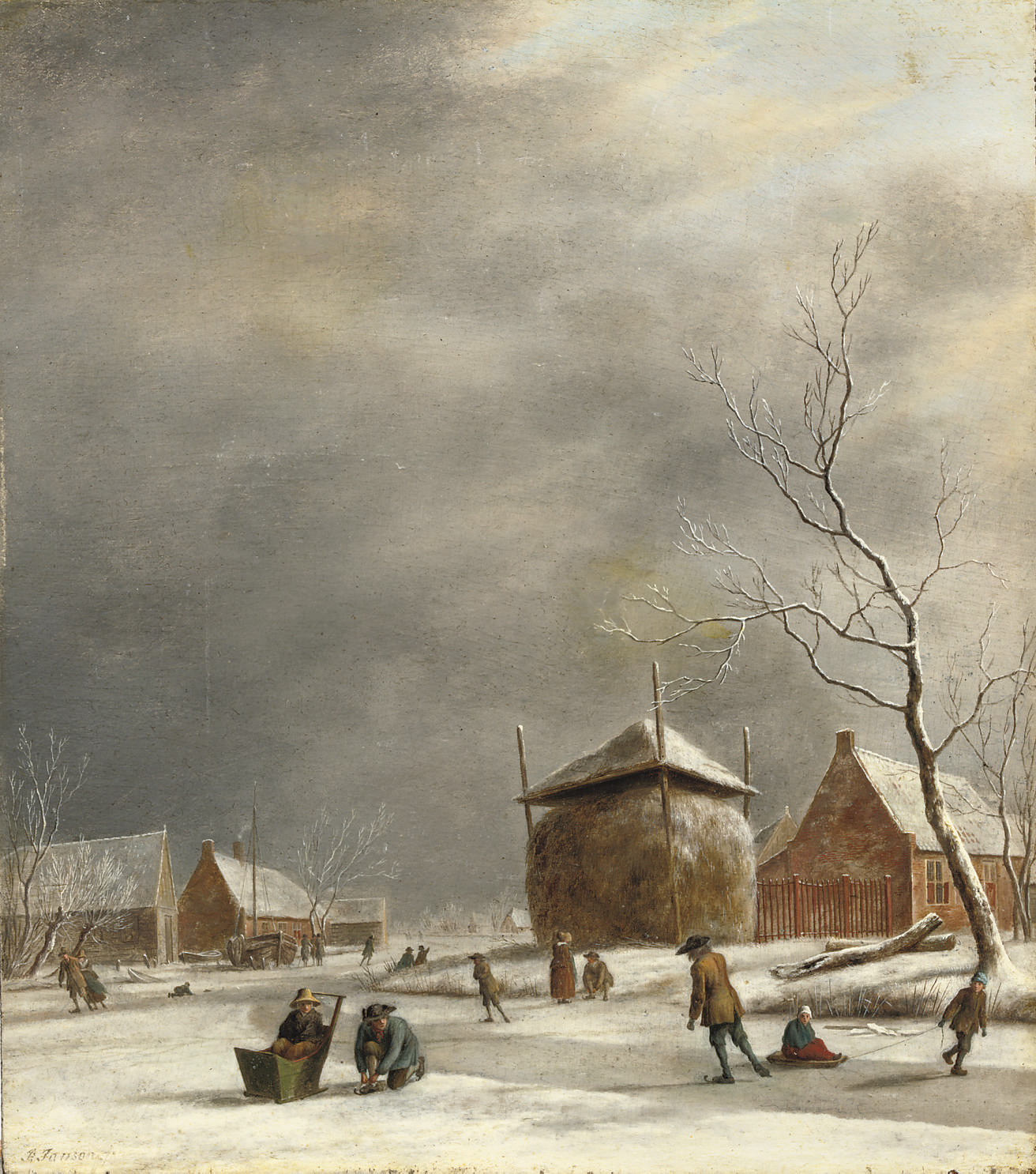 A winter landscape with skaters on a frozen river near a haystack