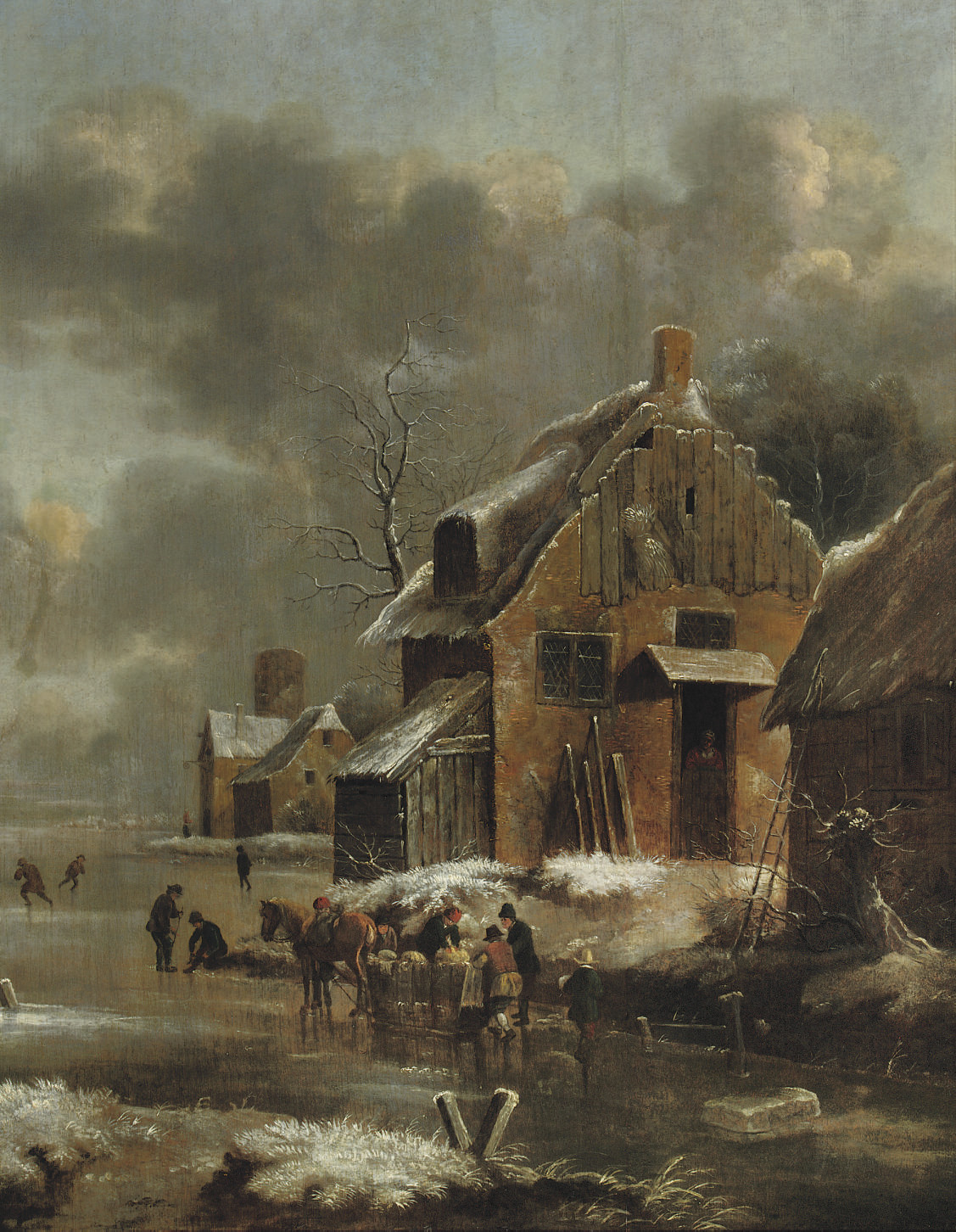A winter landscape with a horse-drawn sleigh and figures