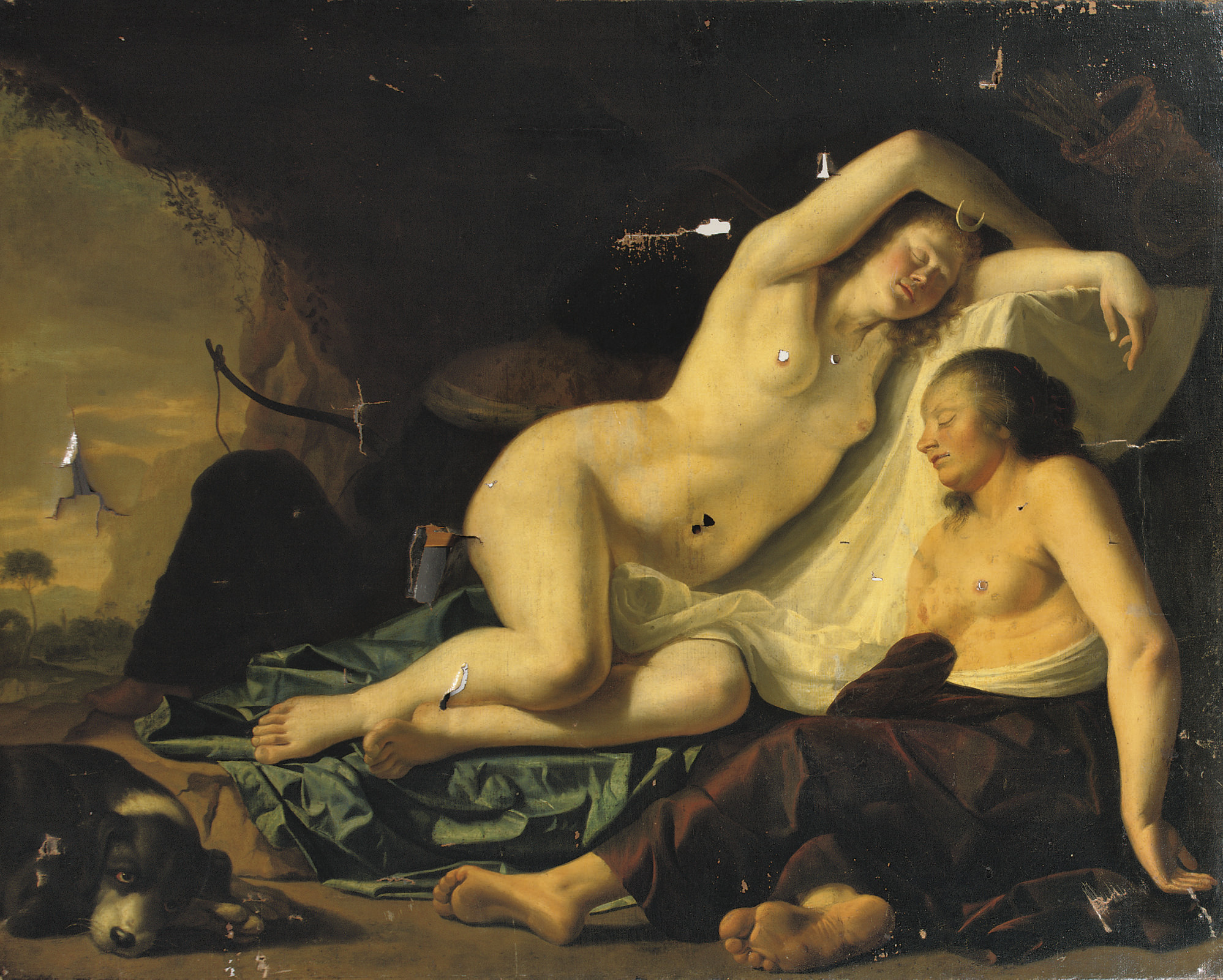 Diana and her Nymphs resting in a grotto