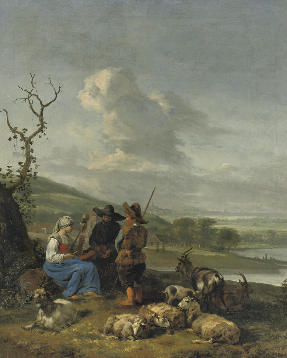 A peasant girl spinning with two shepherds watching