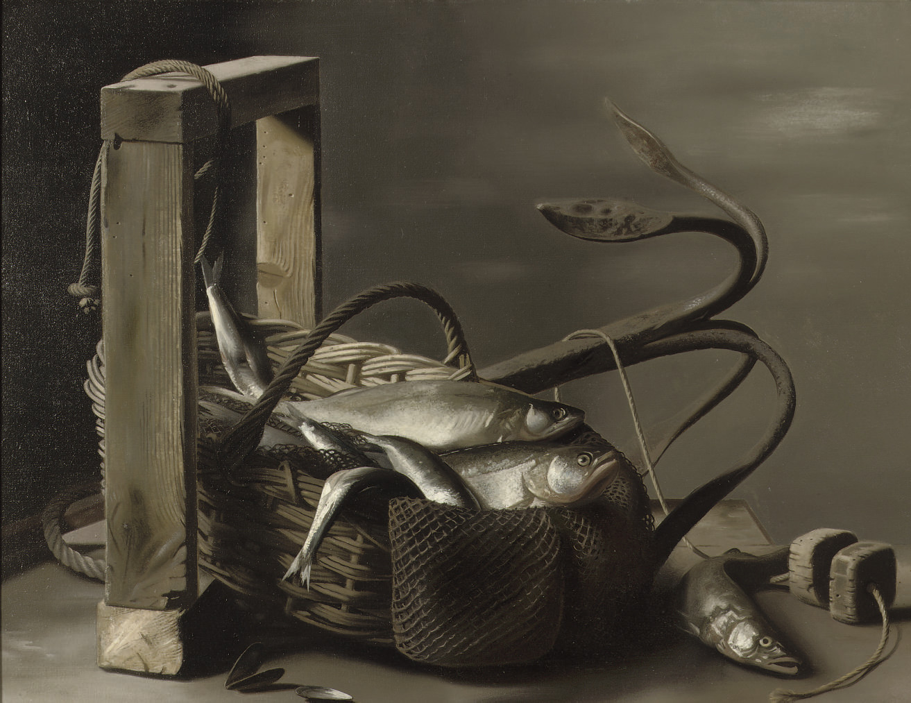 A still life with fish in a basket and an anchor