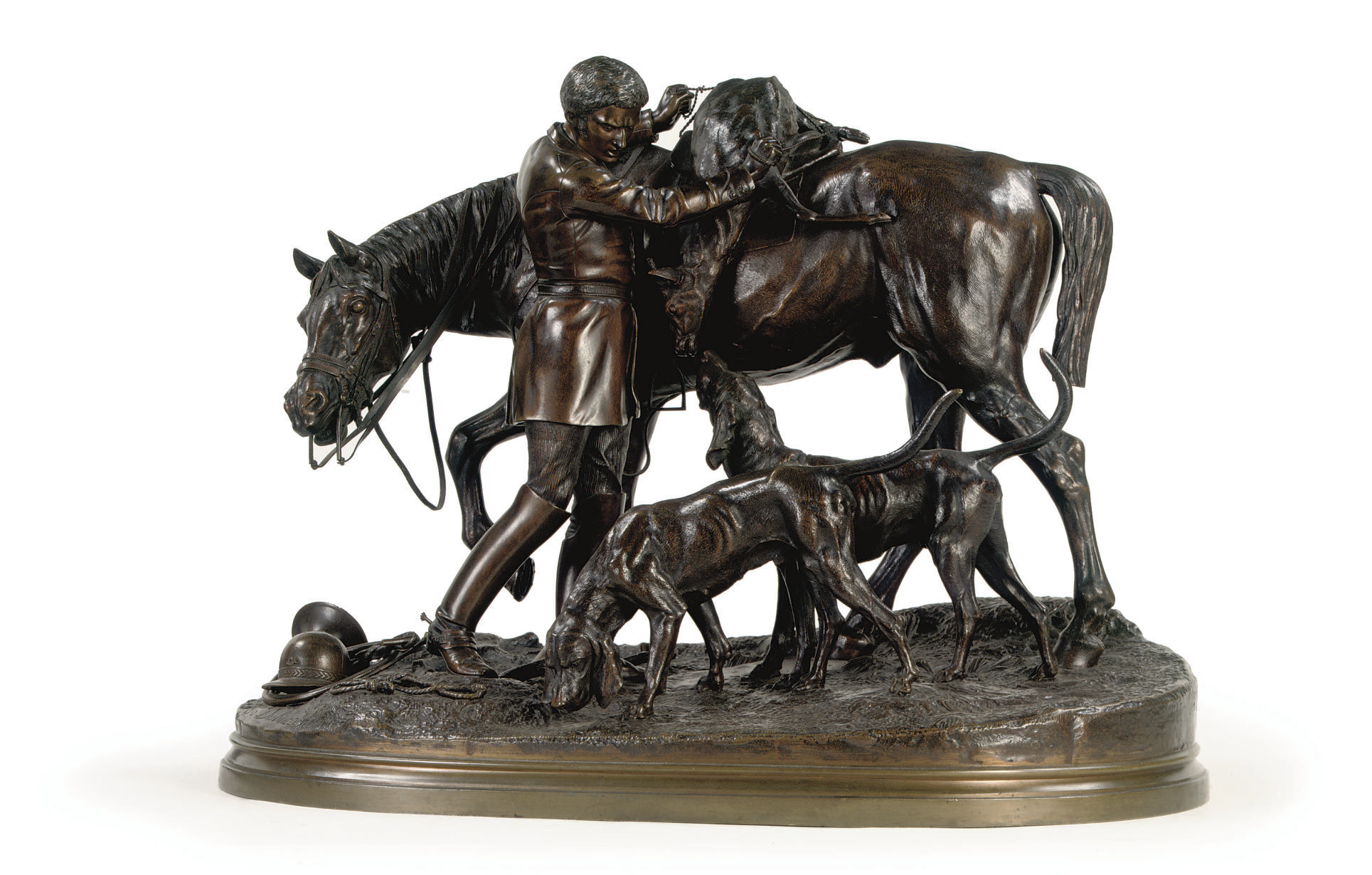 A BRONZE GROUP OF A YOUNG HUNDSMAN WITH HOUNDS, HORSE AND STAG 'LE RETOUR DE LA CHASSE A COURRE'