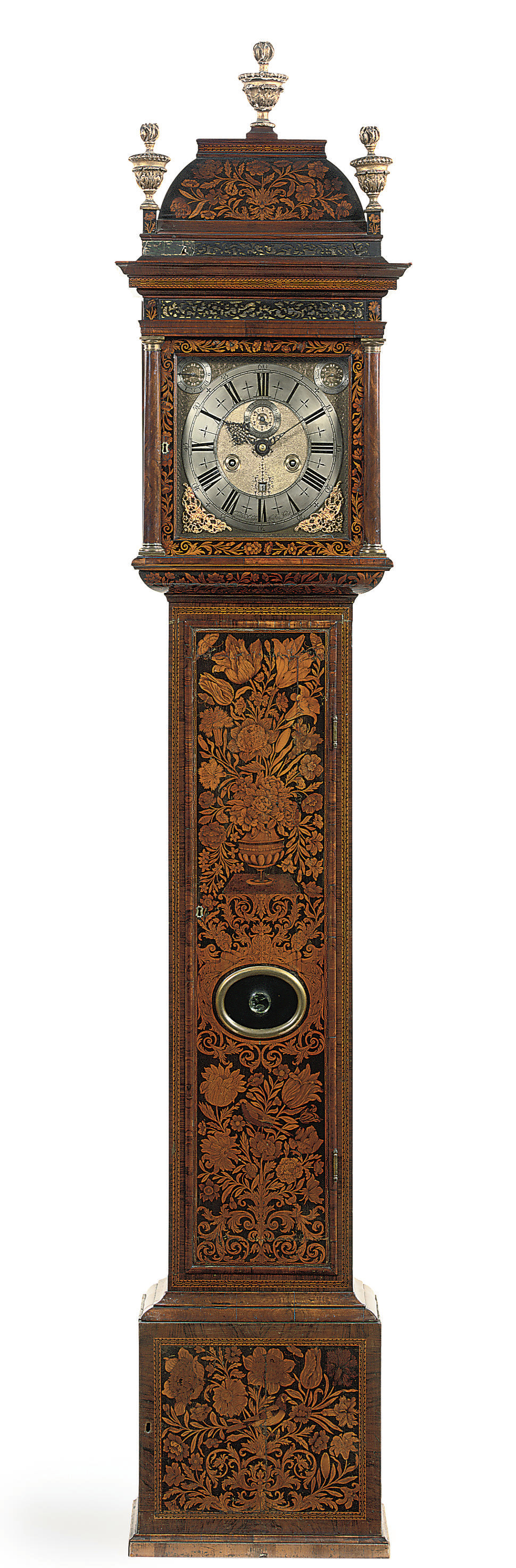 A WILLIAM III WALNUT, FIGURED-WALNUT AND FRUITWOOD MARQUETRY MONTH-GOING LONGCASE CLOCK WITH PULL QUARTER REPEAT AND 1¼ SECONDS PENDULUM