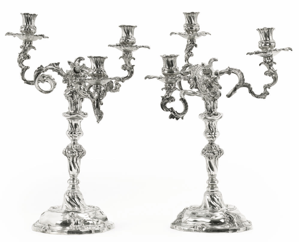 A FINE LARGE PAIR OF GERMAN SILVER CANDELABRA