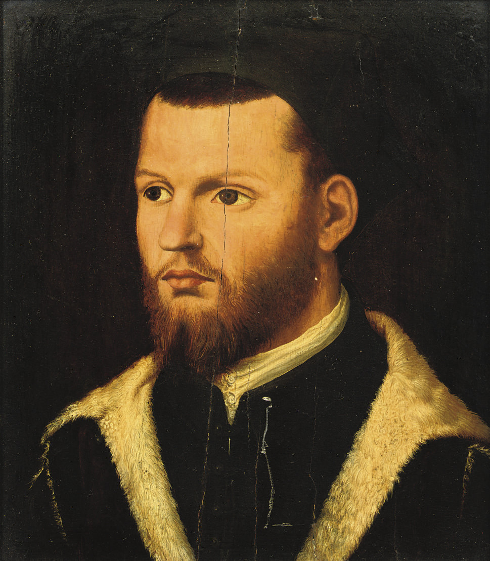 Portrait of a gentleman, bust-length, in a fur-lined black costume