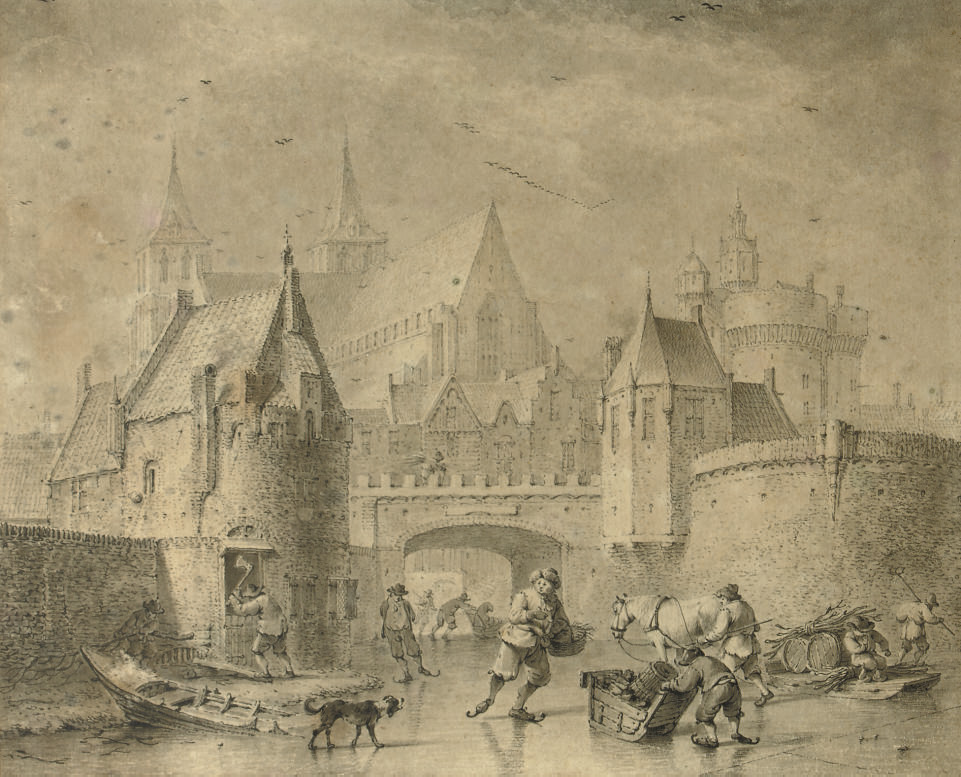 Skaters on the ice near a town-wall