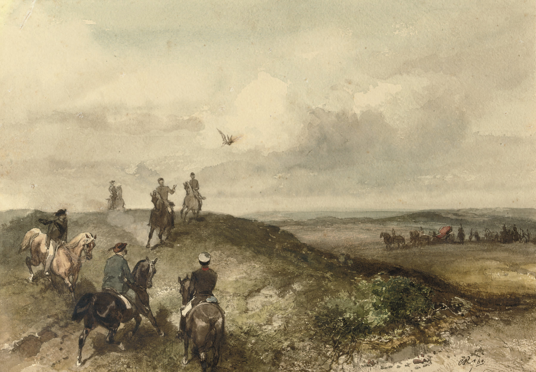 A Royal hunting party: Queen Emma on a falcon hunt