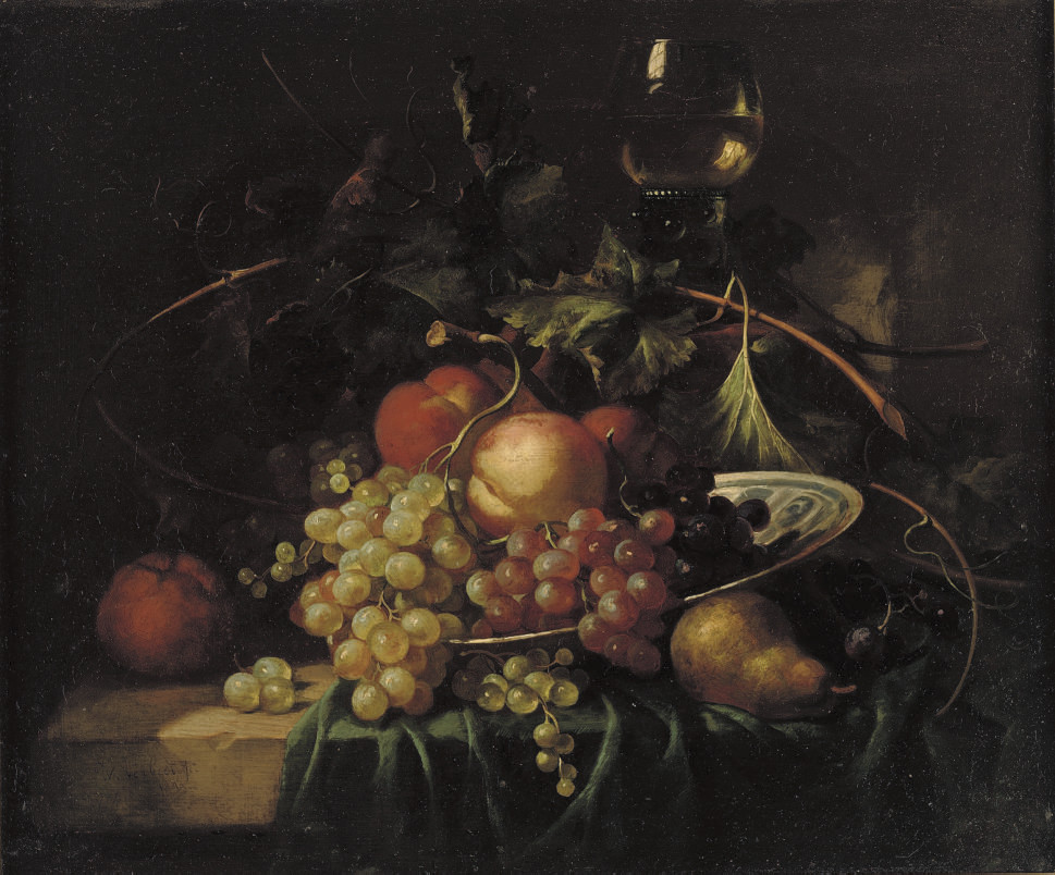 Still life with grapes, peaches, an orange and a pear
