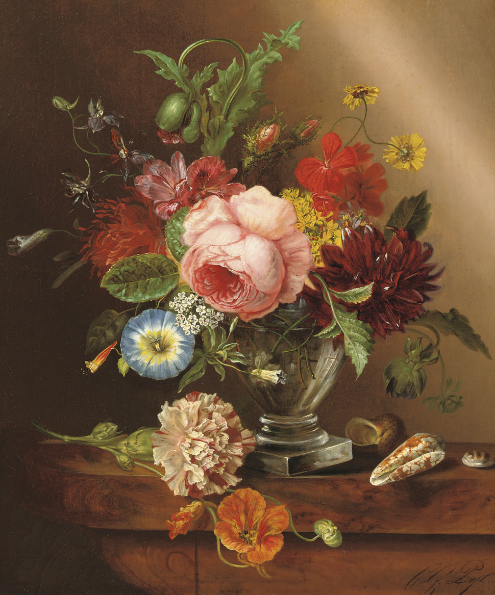 Colourful flowers in a glass vase