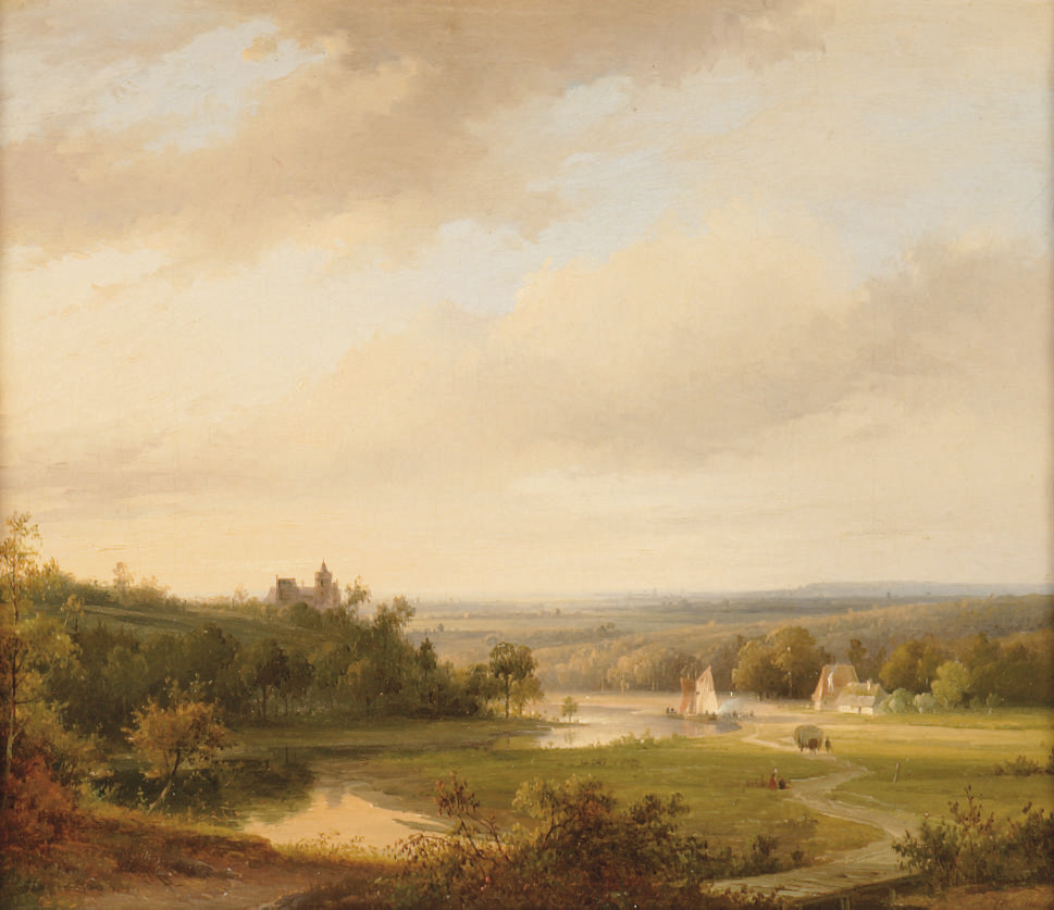 An extensive river landscape with cattle on a hill-top