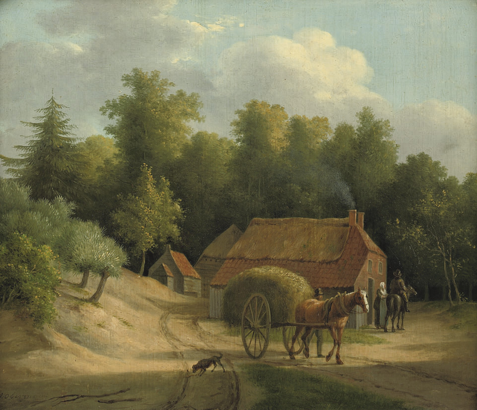 Haywain by a farm